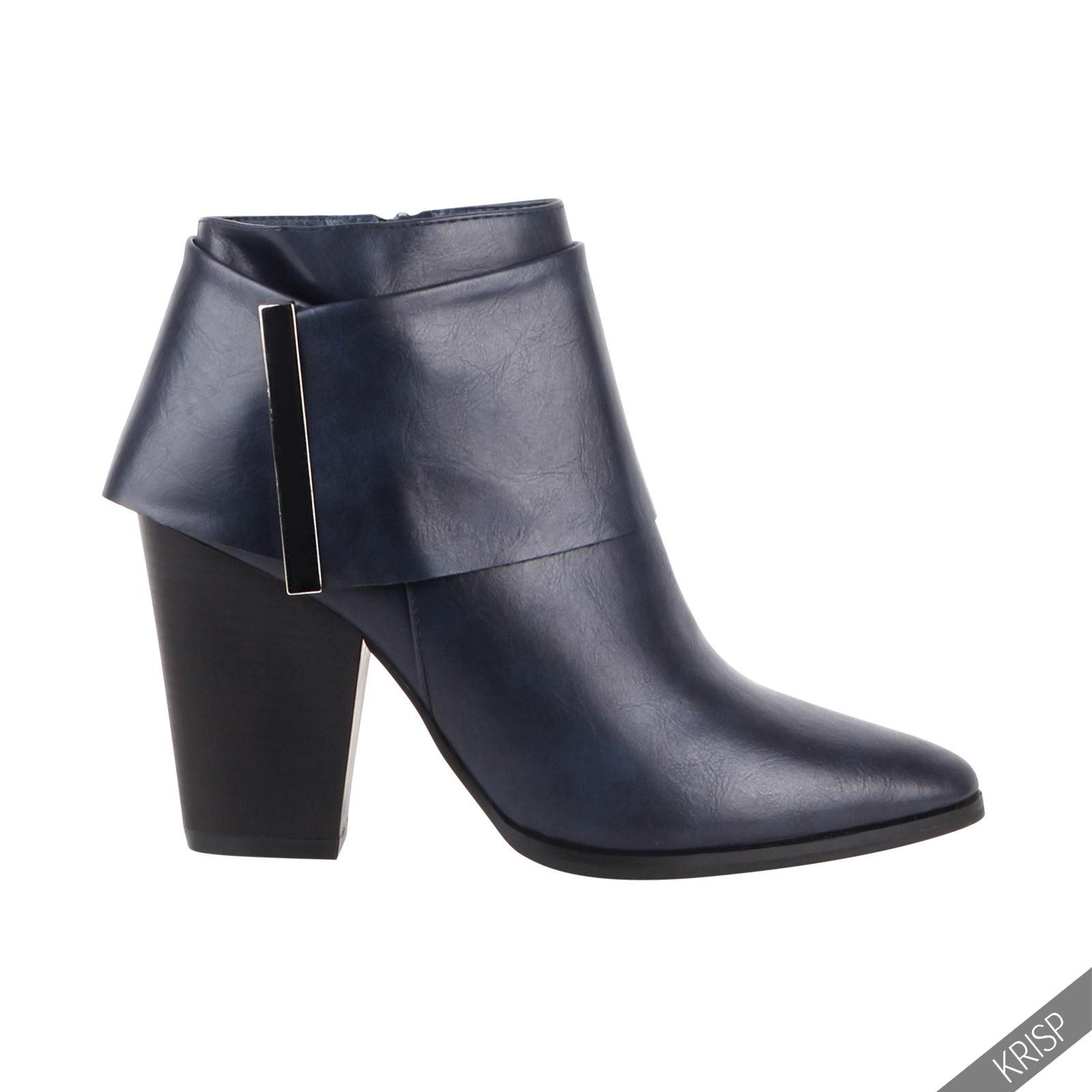 femmes bottines biker rock boots chaussure talon bloc moyen uni cuir bottes sexy ebay. Black Bedroom Furniture Sets. Home Design Ideas