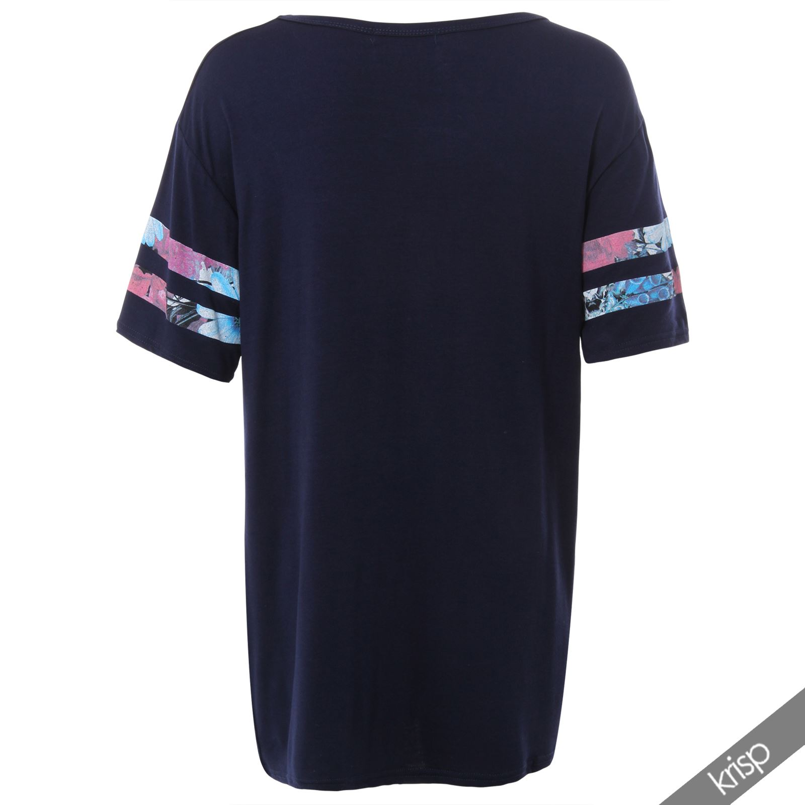 AU Womens Oversized Tee Shirt American Varsity Print Baseball Long Jersey Top
