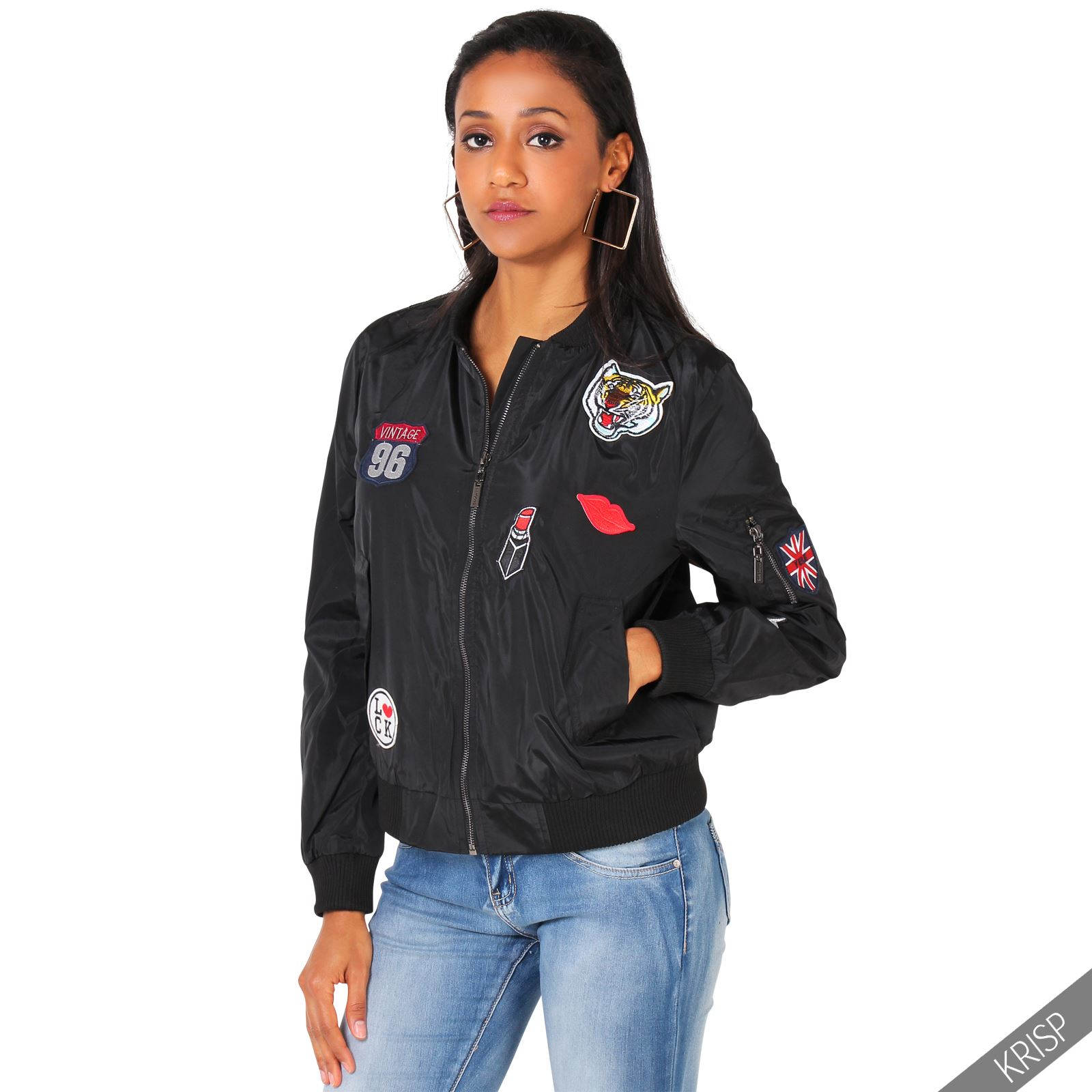 Womens Classic Army Patch Bomber Jacket Vintage Military Light Summer Biker Coat | EBay