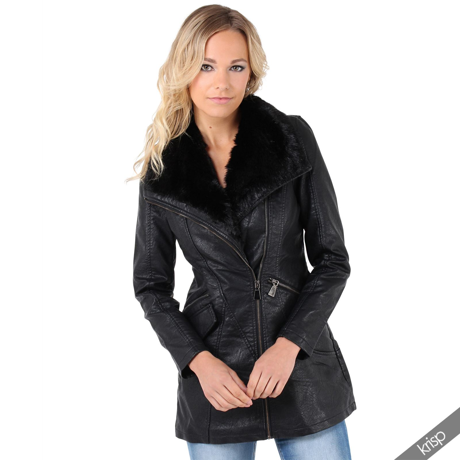 damen fellkragen lederjacke biker jacke parka. Black Bedroom Furniture Sets. Home Design Ideas