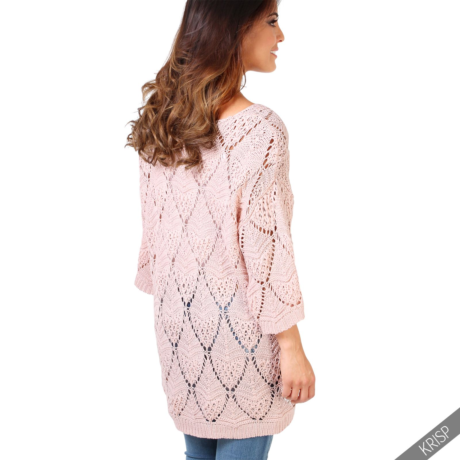 Womens Ladies Oversize Retro Boho Open Knit Jumper Kimono Sleeve Sweater Top ...