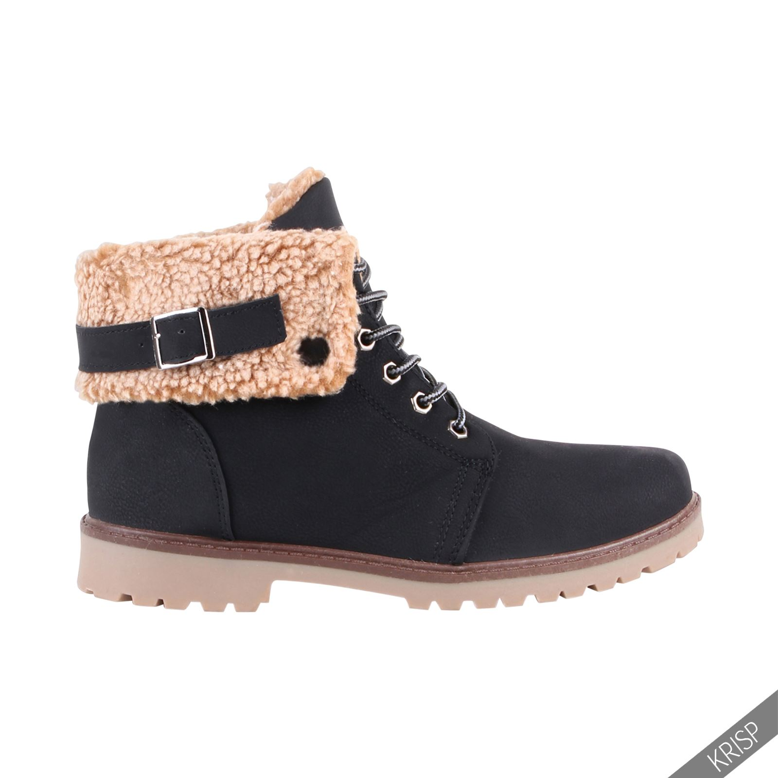 Simple Womens Black Leather Style Buckle Lace Up Flat Pixie Ankle Boots - From SPYLOVEBUY UK