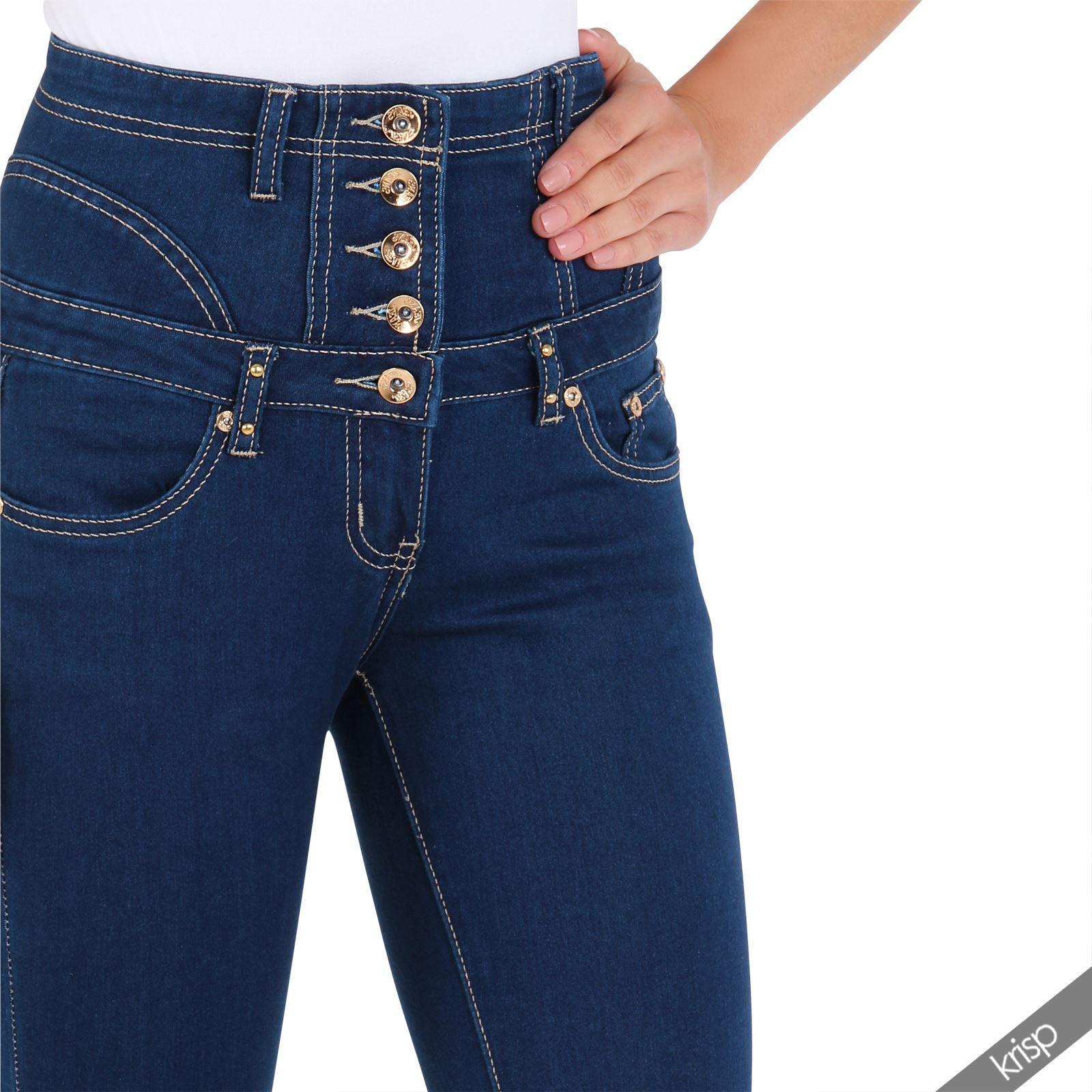 damen high waist stretch jeans rei verschluss hinten slim skinny hoher bund ebay. Black Bedroom Furniture Sets. Home Design Ideas