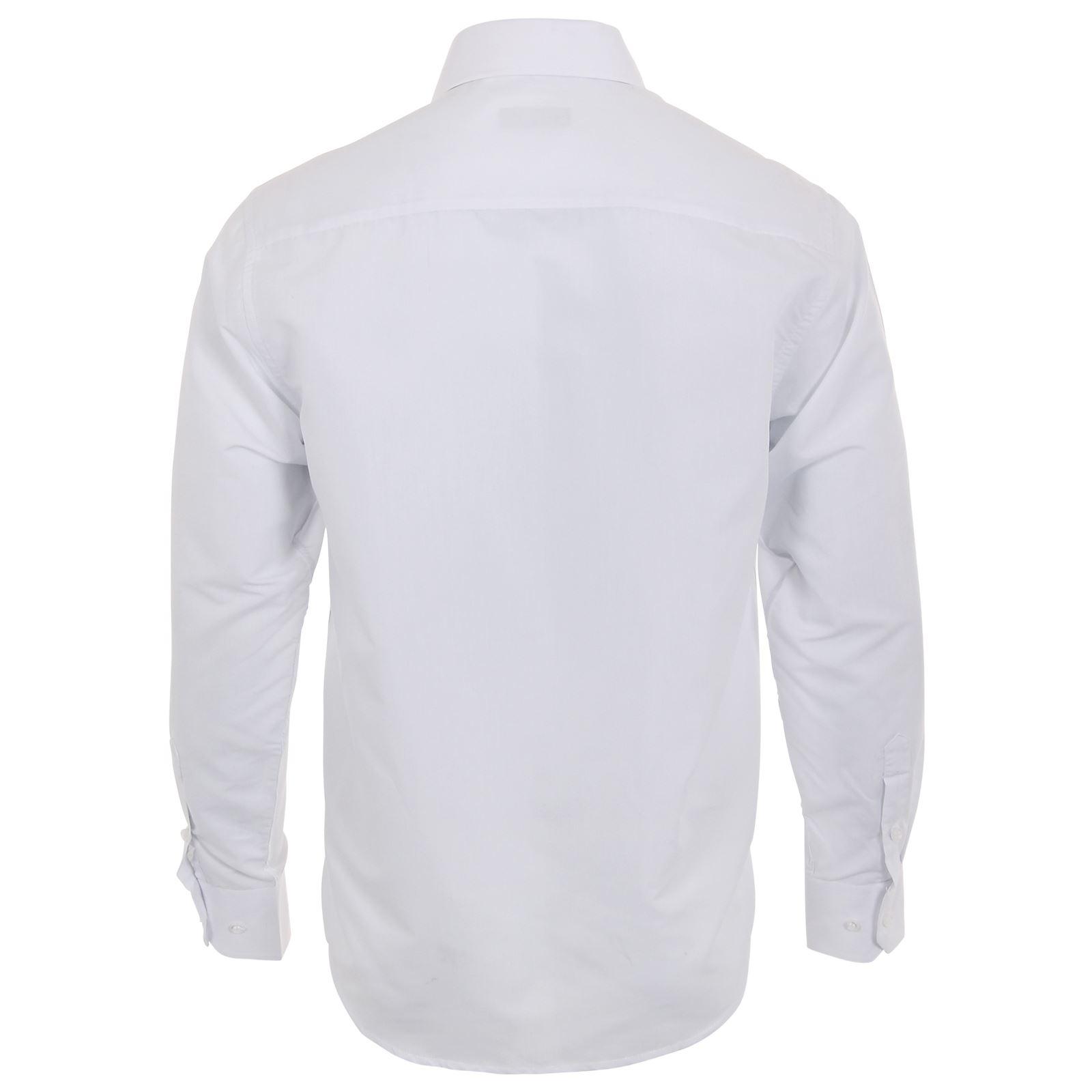 Mens-Menswear-Long-Sleeve-Smart-Casual-Plain-Business-Formal-Button-Dress-Shirt