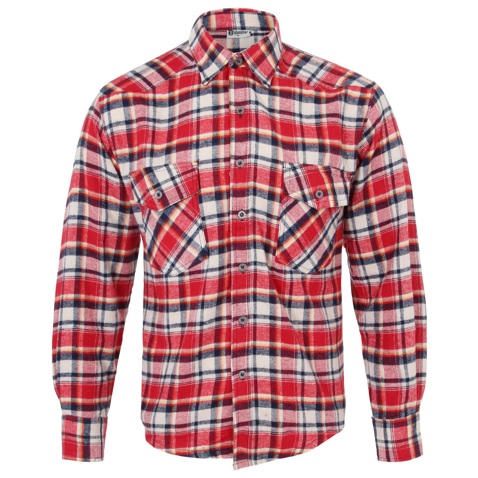 Men 39 s checked print lumberjack flannel western warm cotton for Mens warm flannel shirts