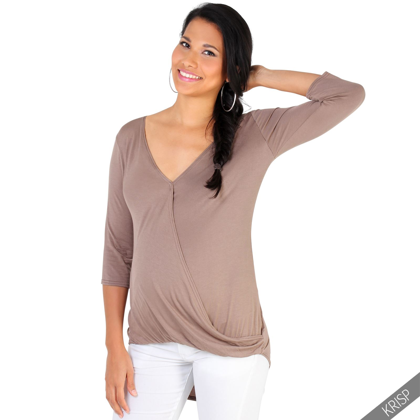 Maternity womens plunge v neck 3 4 sleeve wrap top stretch for Womens v neck t shirts
