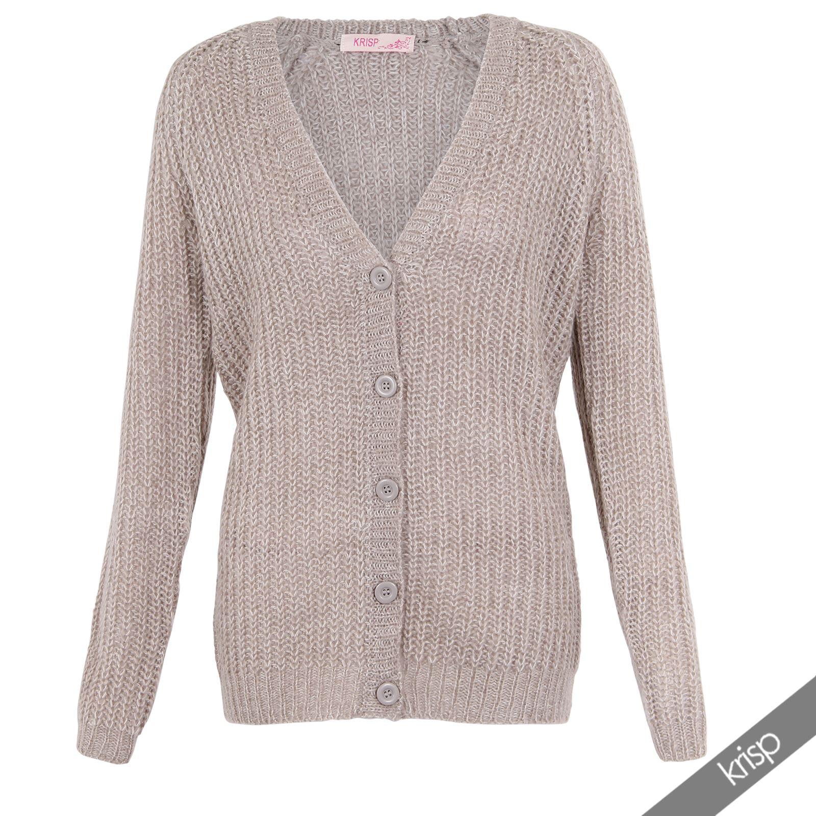 Womens Chunky Cable Knit Oversize Boyfriend Buttoned ...