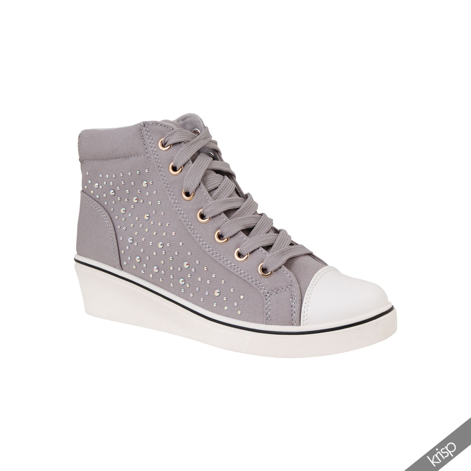 damen stoff sneakers wedges keilabsatz ziersteine strass turnschuhe canvas ebay. Black Bedroom Furniture Sets. Home Design Ideas