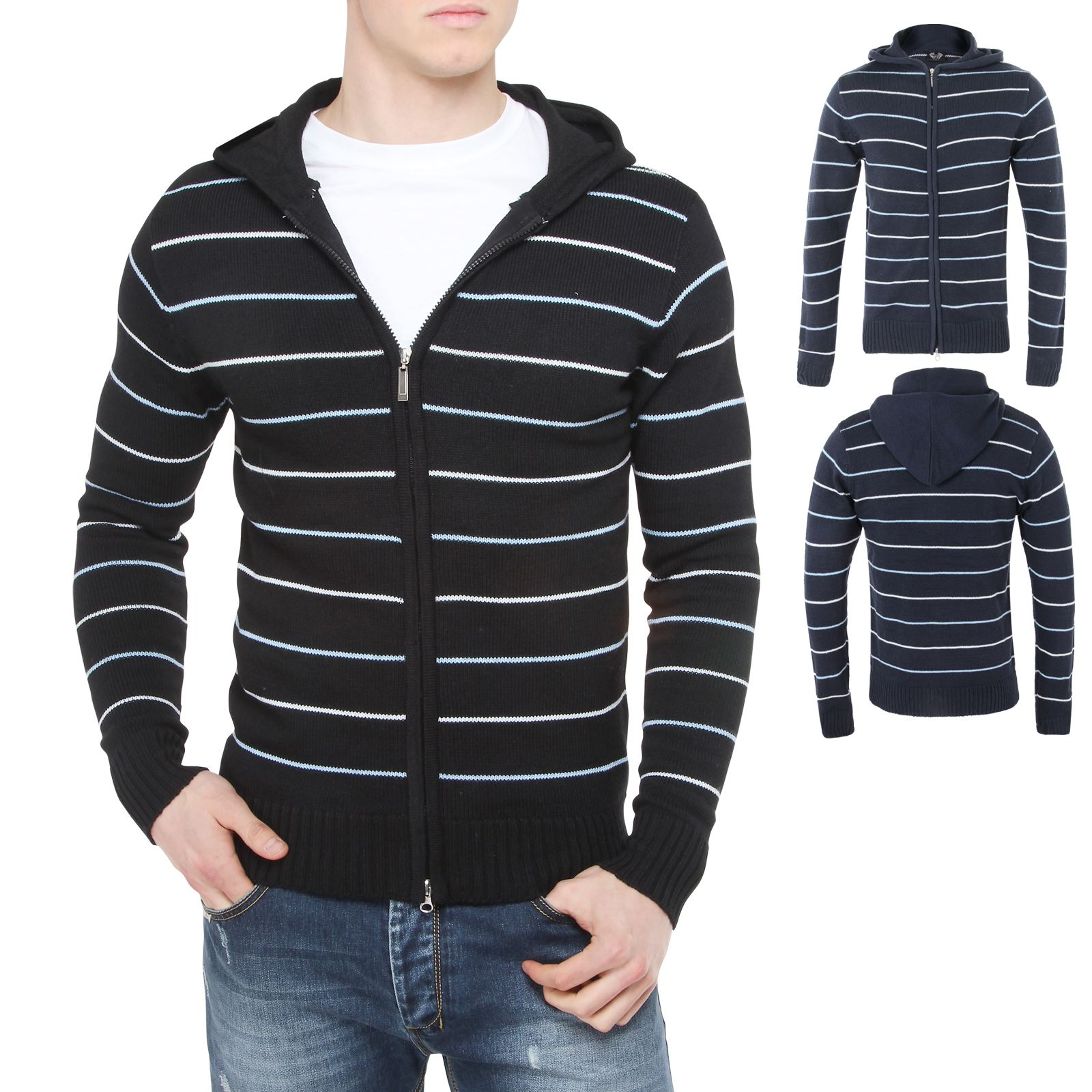 Mens Striped Knitted Hooded Cardigan Jumper Sweater Hoodie ...