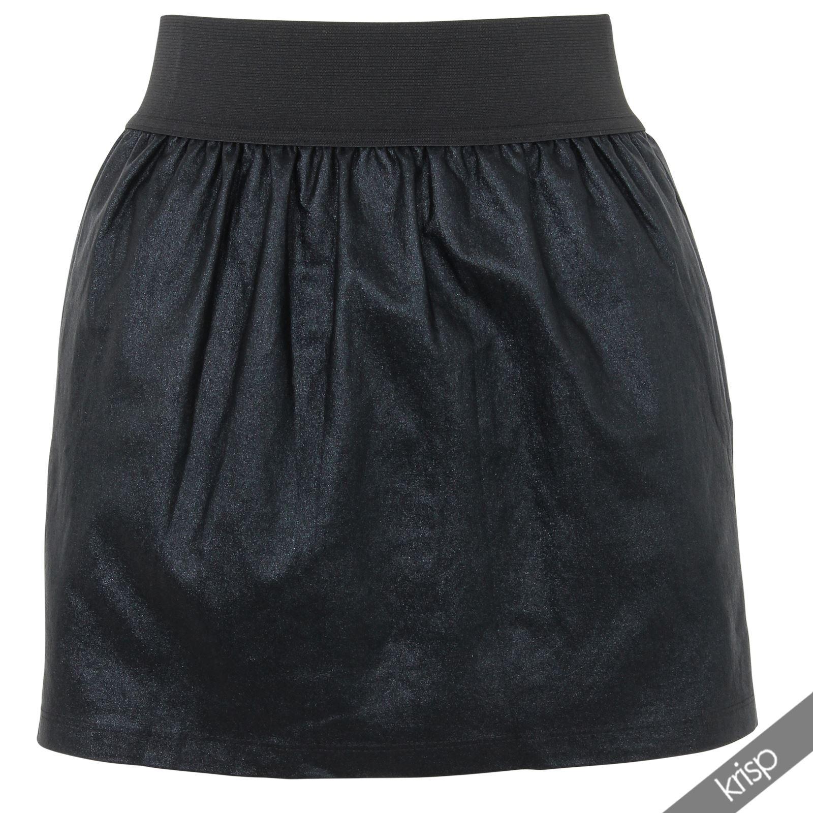 womens look pvc elastic high waist pleated flared mini