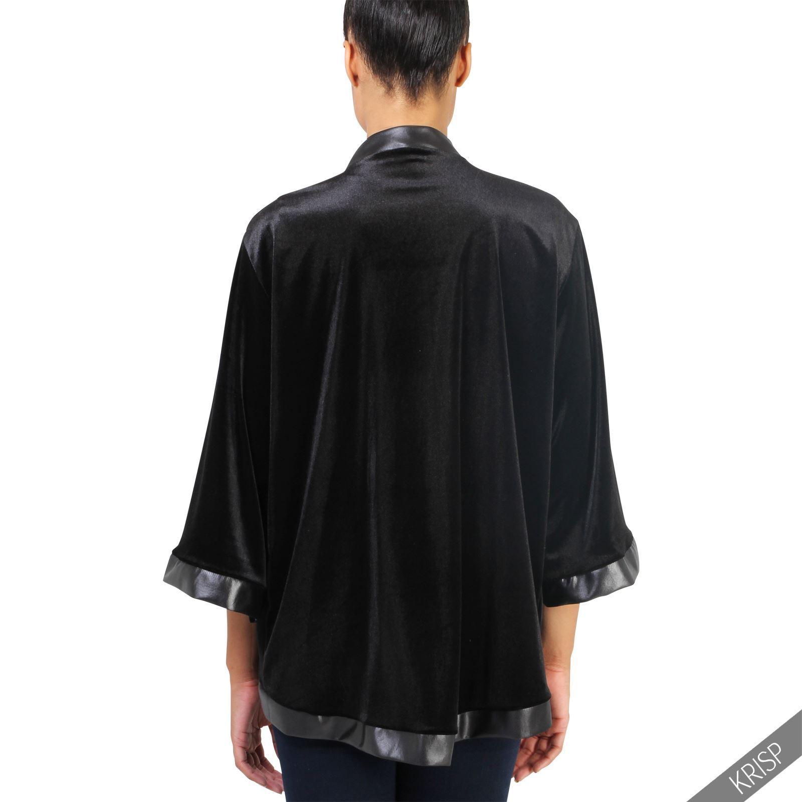damen offene samt satin jacke 3 4 arm kimono bluse blazer. Black Bedroom Furniture Sets. Home Design Ideas
