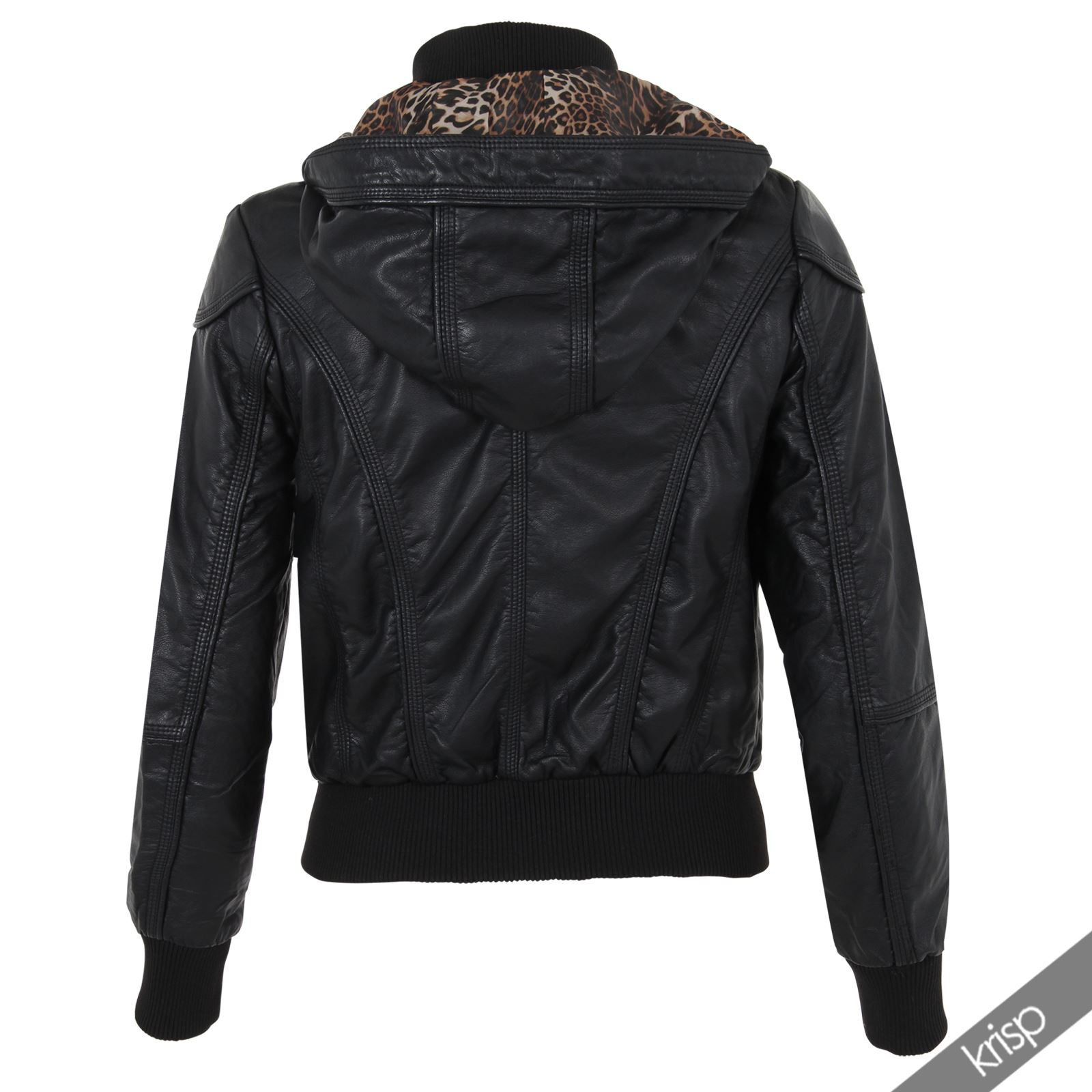 Womens PU Leather Hooded High Neck Leopard Zip Biker Cropped Bomber Jacket Coat