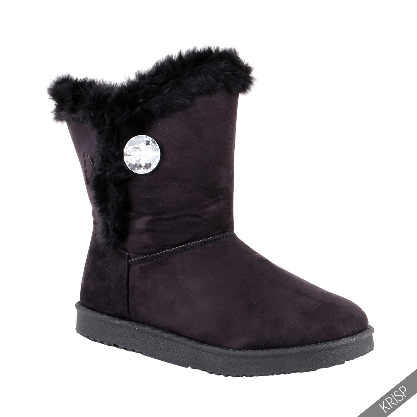 Womens Warm Fur Lined Snug Ankle Calf Boots Flat Ladies