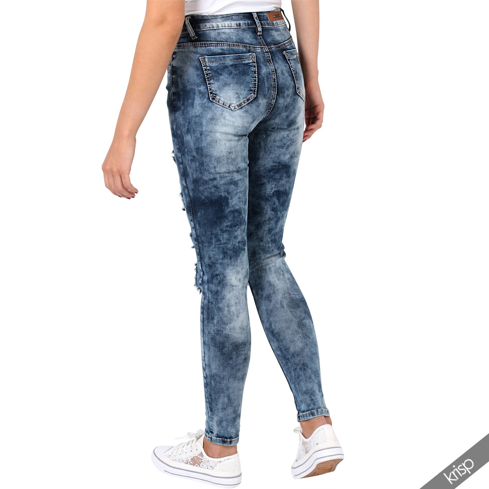 femmes pantalon jean slim trou d chir grunge taille haute d lav tie dye retro ebay. Black Bedroom Furniture Sets. Home Design Ideas