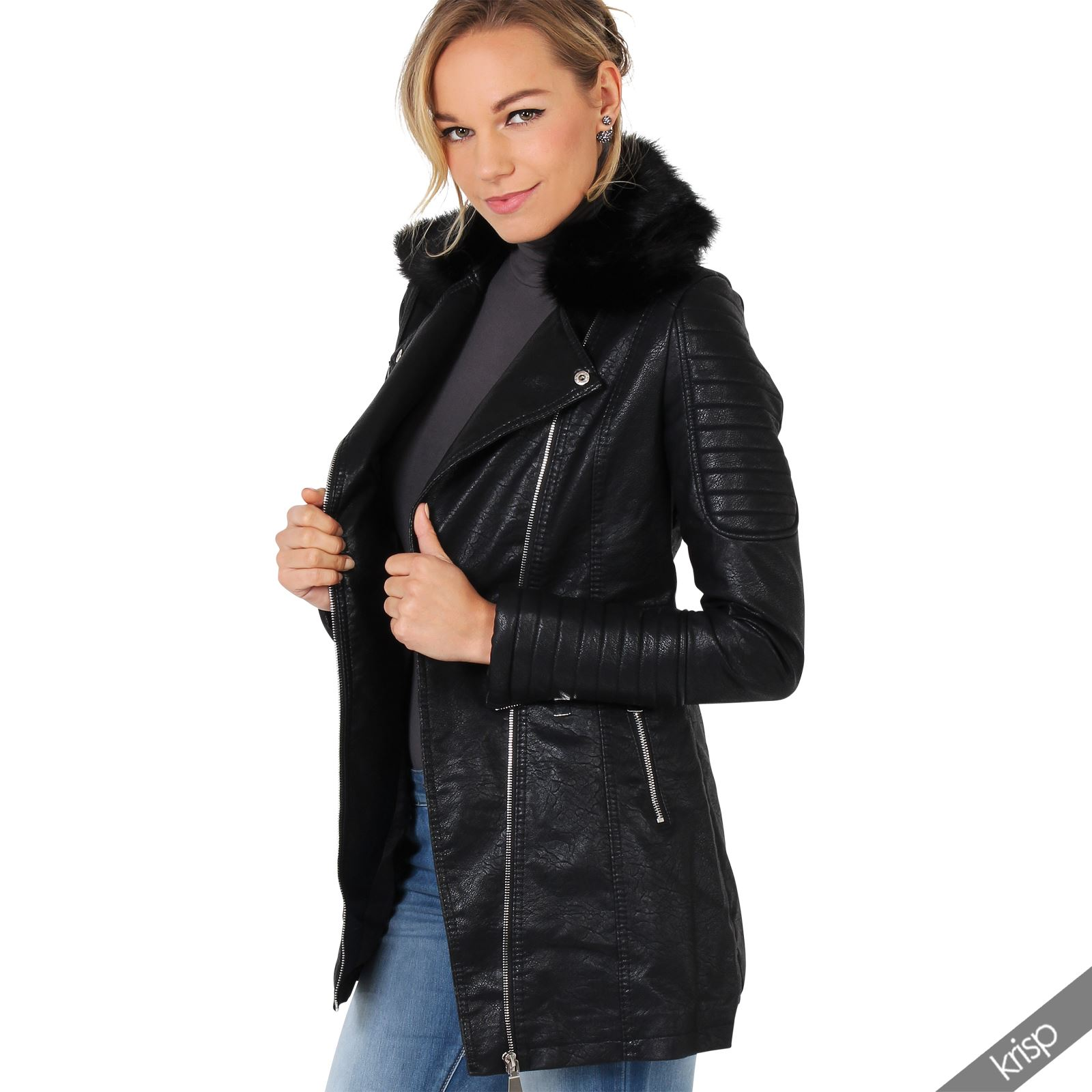 femme manteau veste en cuir matelass col fourrure d tachable hiver chaud ebay. Black Bedroom Furniture Sets. Home Design Ideas