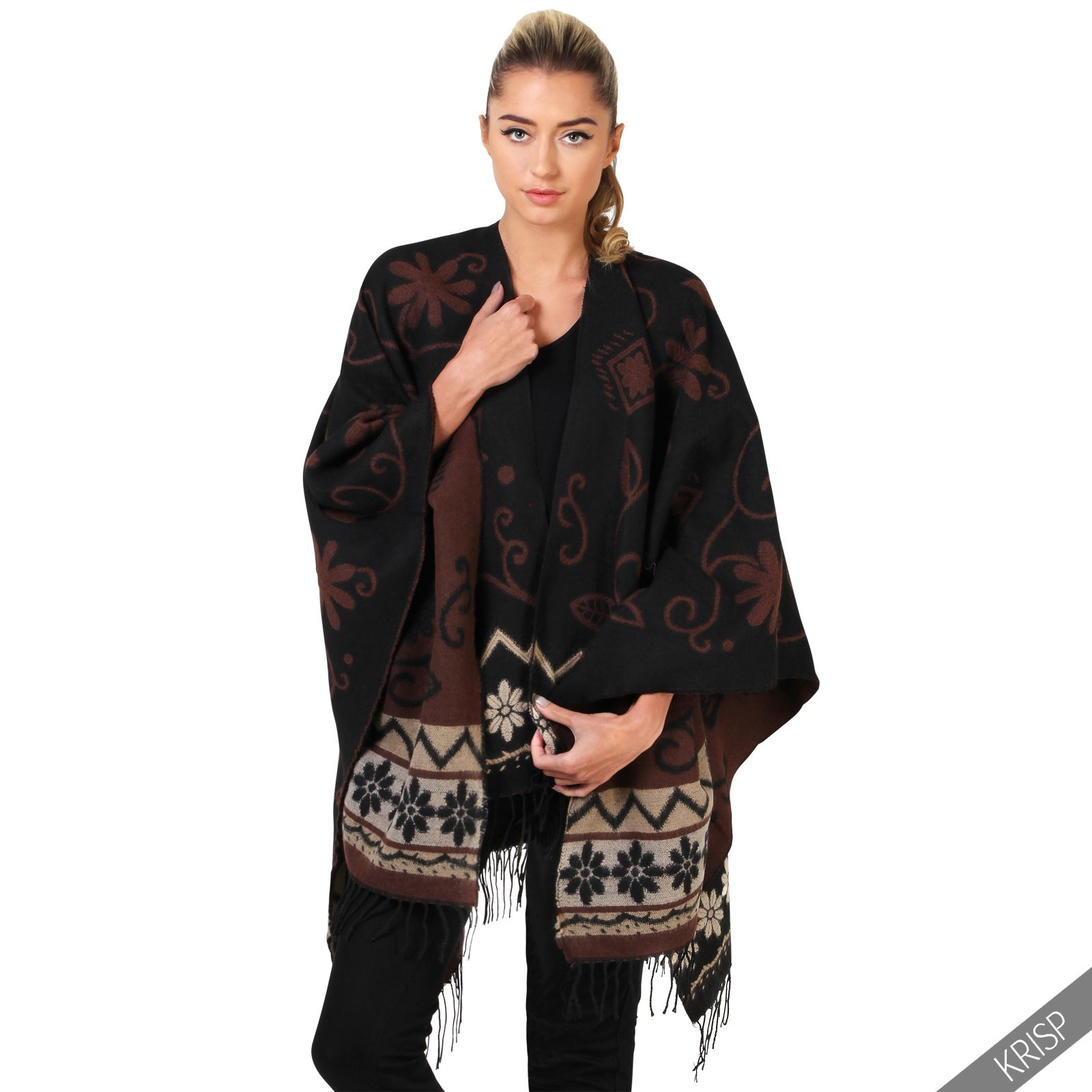 femmes poncho uni cape echarpe epaisse chaude uni frange sans manche casual fr ebay. Black Bedroom Furniture Sets. Home Design Ideas