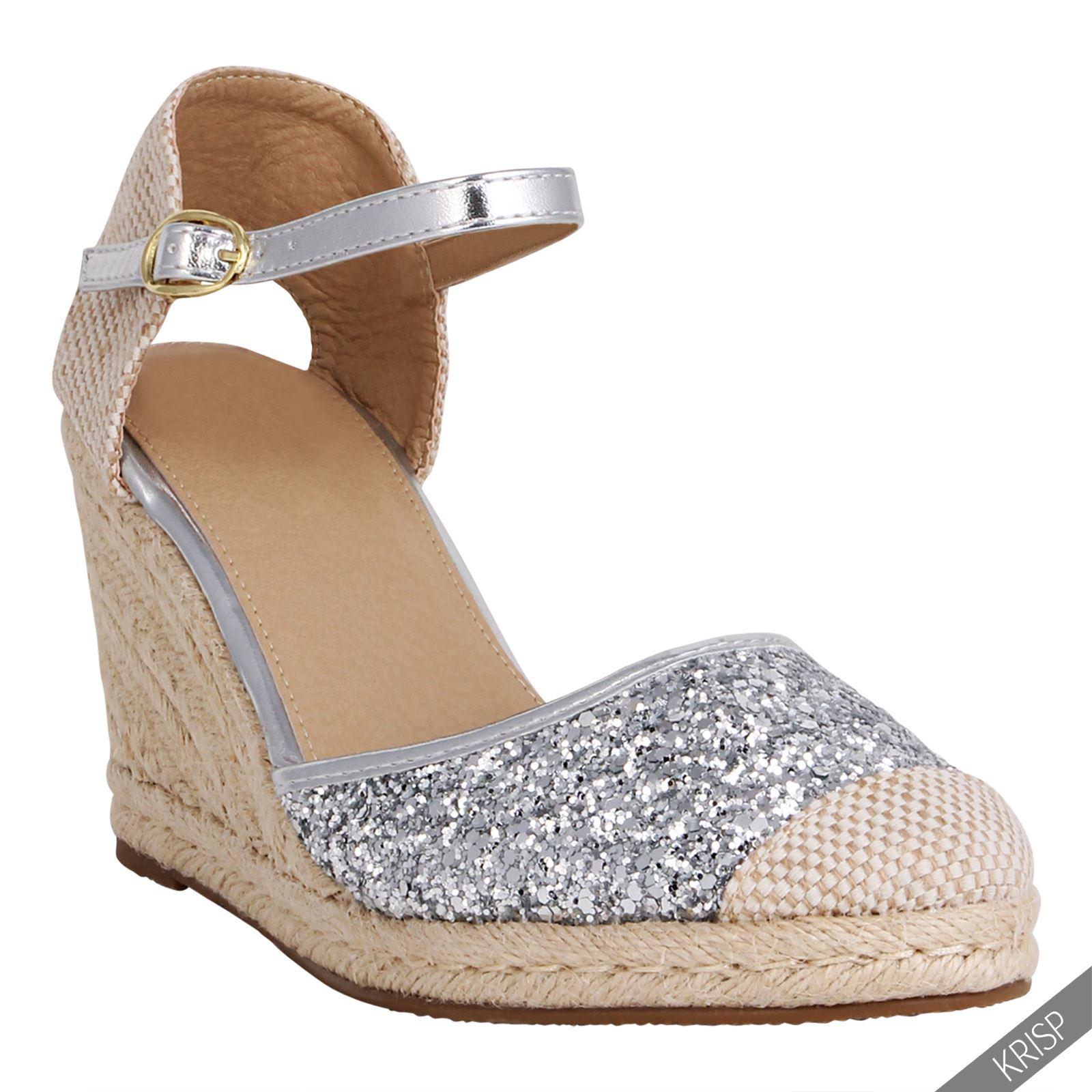 Womens Glitter Summer Espadrille Sandals High Heel Wedge ...