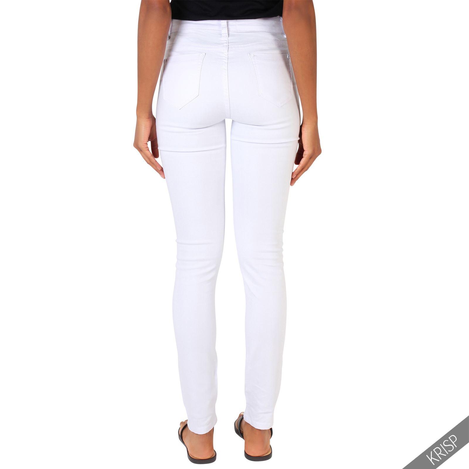 femme jean blanc taille haute trou empi cements dentelle pantalon franges mode ebay. Black Bedroom Furniture Sets. Home Design Ideas