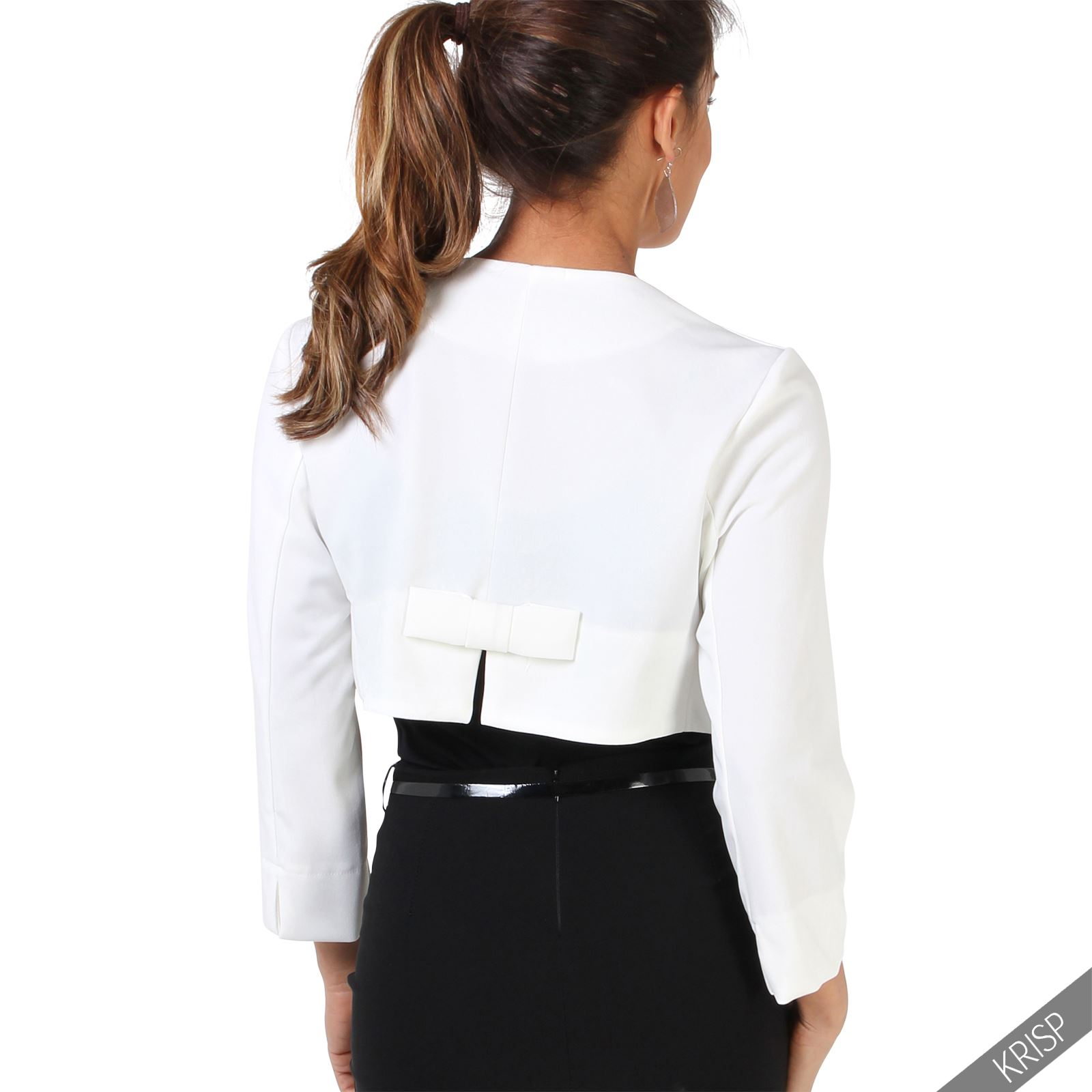 Womens ladies crop open fit blazer bow back evening jacket for Womens dress jacket wedding