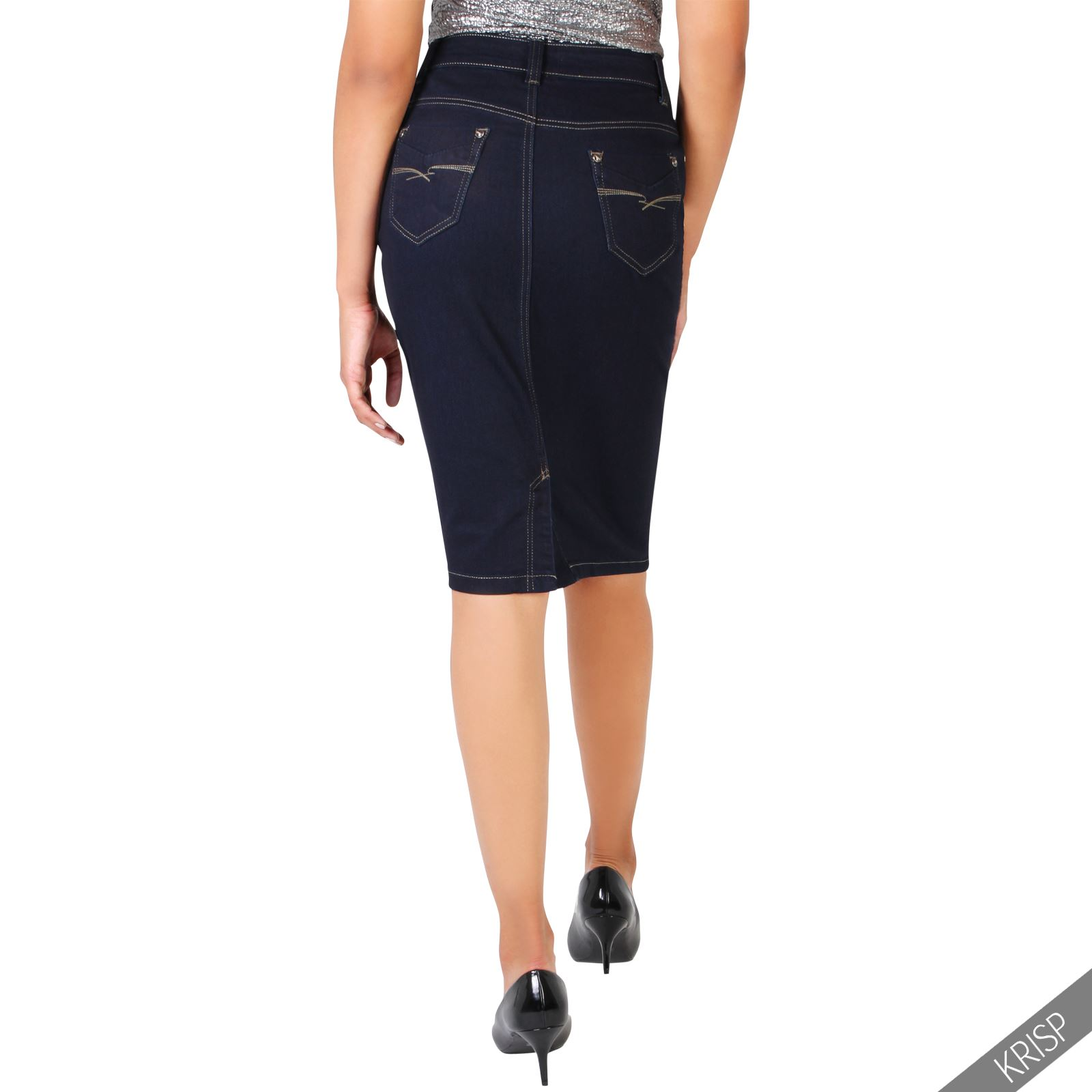 womens classic a line denim skirt stretch pencil