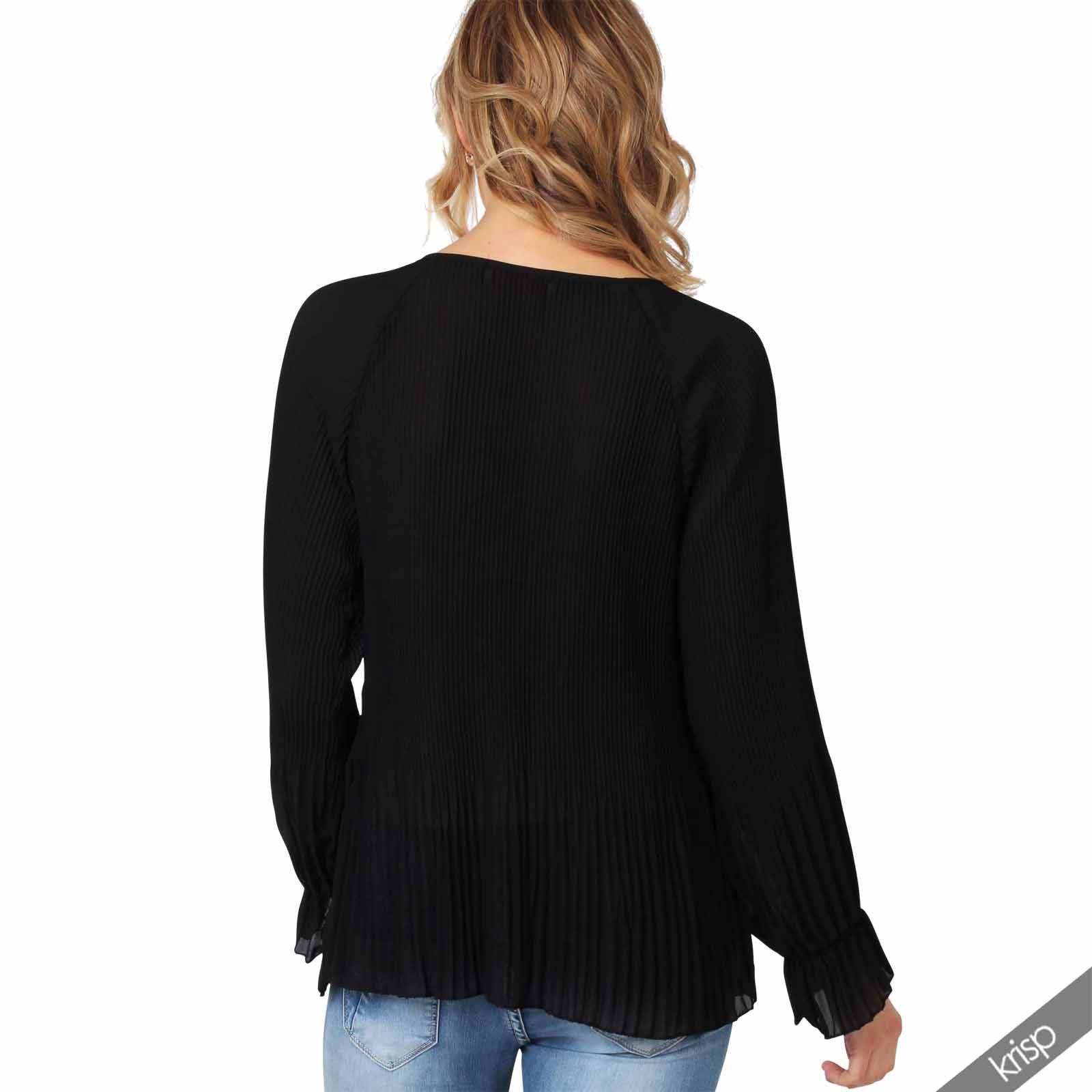 Femme top tunique manches longues mousseline pliss e ample for Fenetre volante