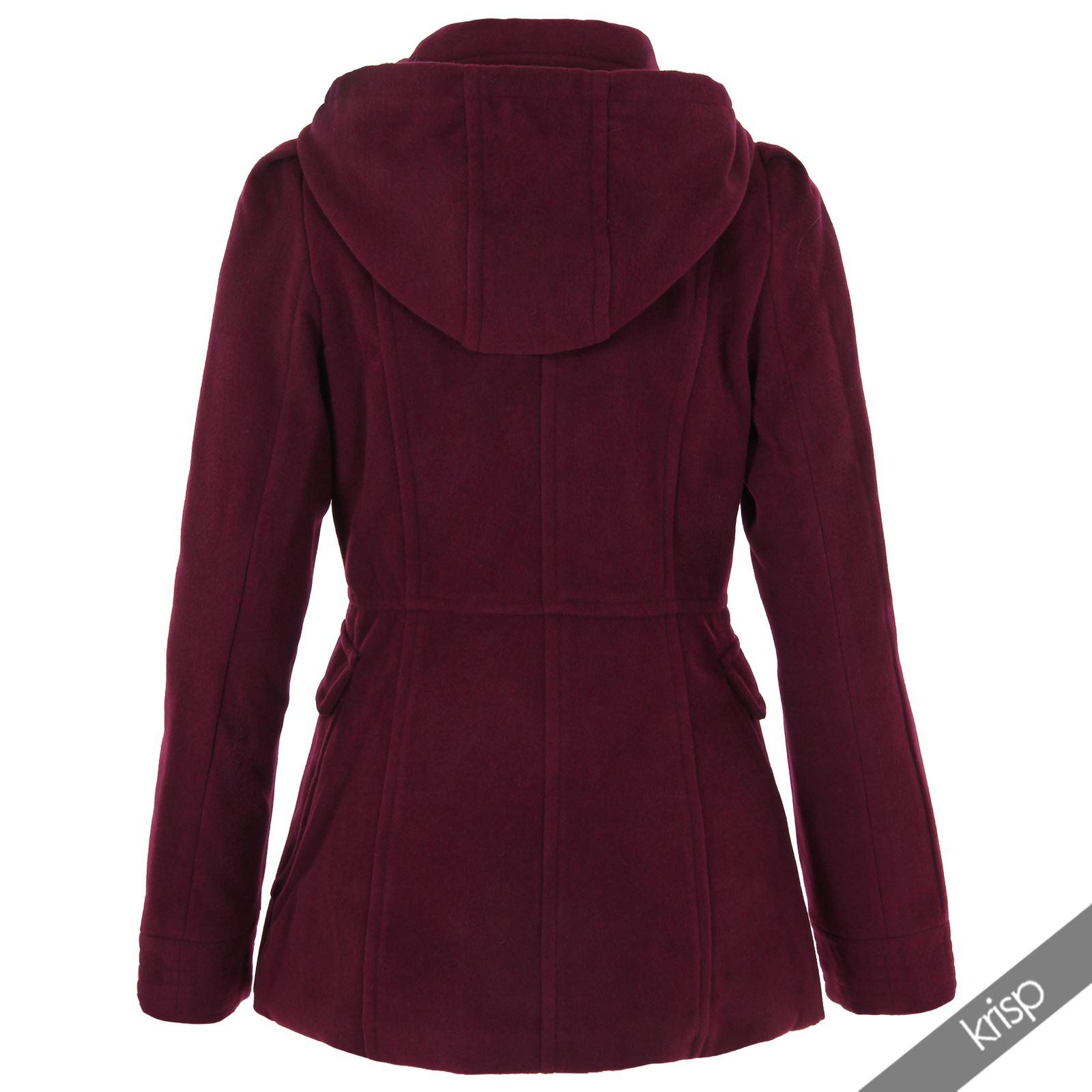 krisp femme manteau duffle coat capuche col rond boutons double rang e laine ebay. Black Bedroom Furniture Sets. Home Design Ideas