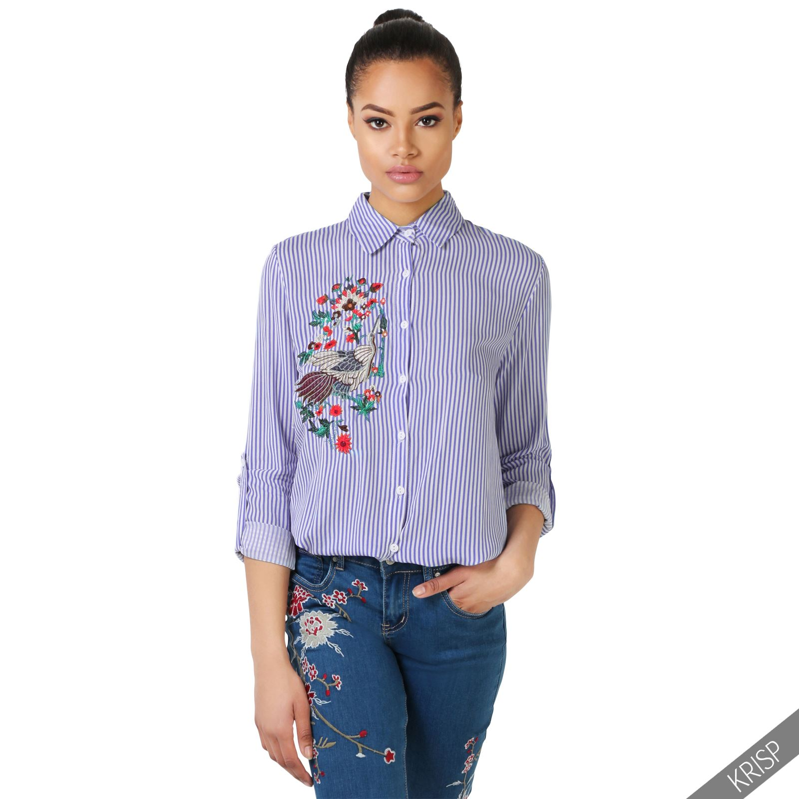 Womens striped flower embroidered shirt ladies button up for Women s collared button up shirts