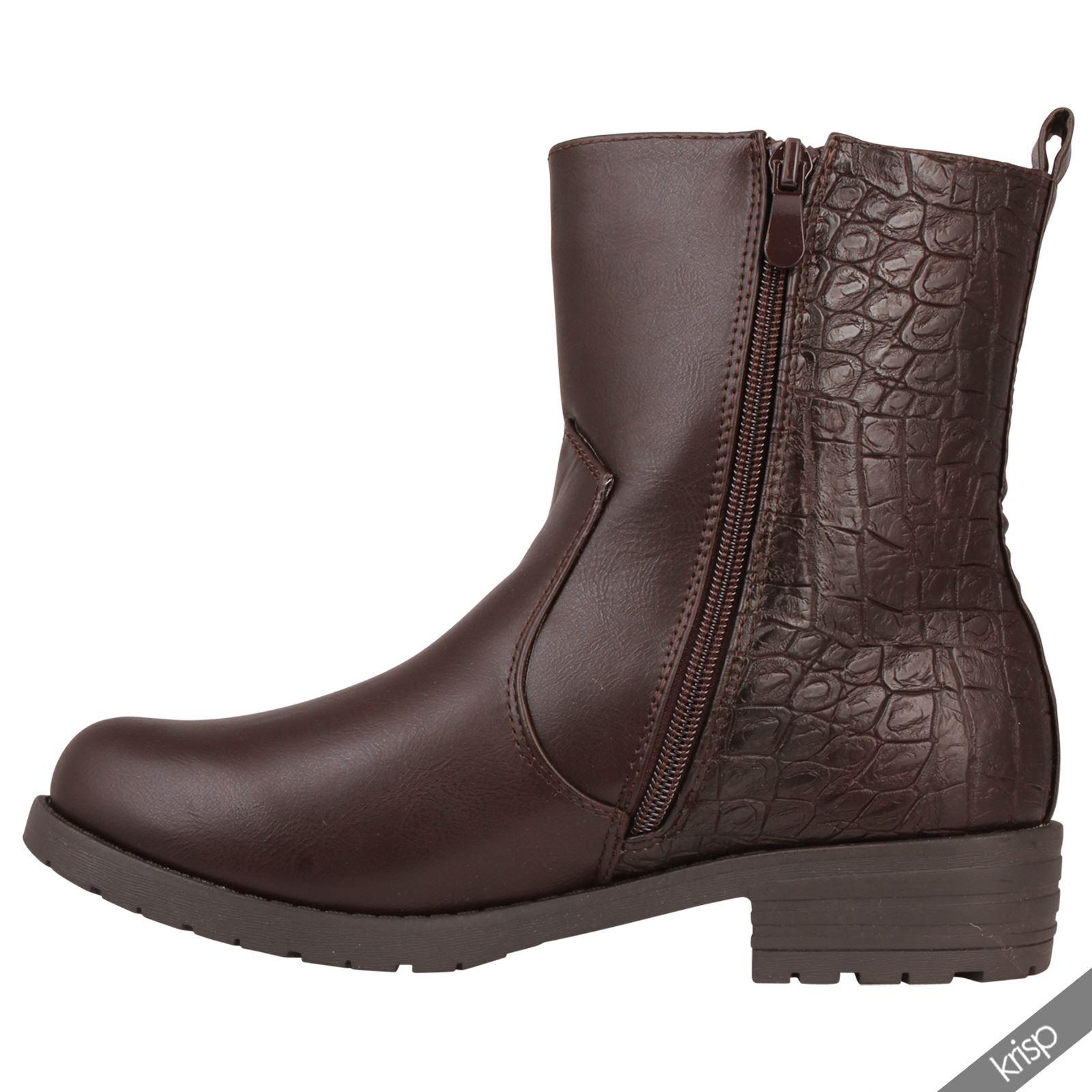 damen winter stiefel gef ttert halbhohe biker boots. Black Bedroom Furniture Sets. Home Design Ideas