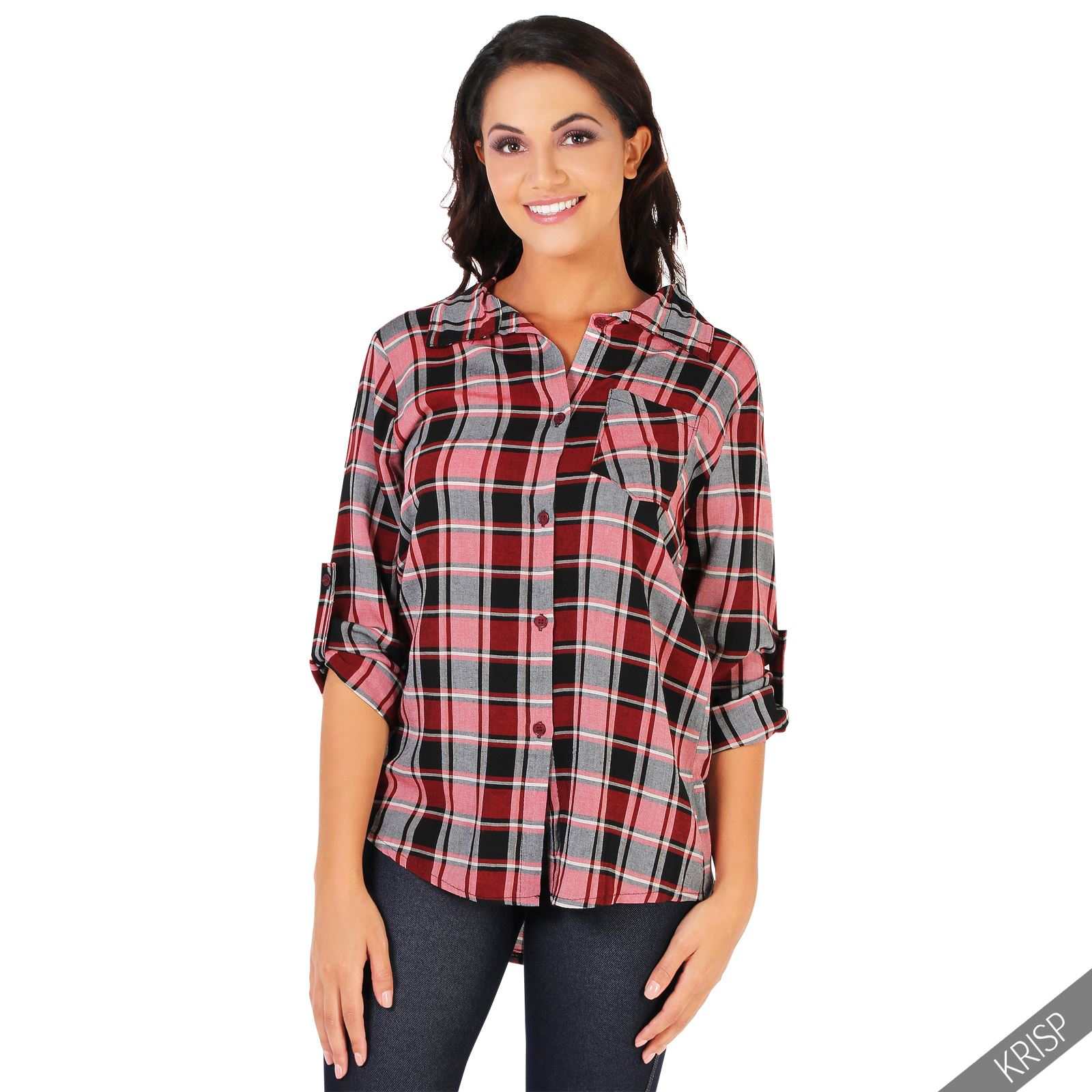 Womens uk plaid check long sleeve shirt loose button down for Plaid button down shirts for women