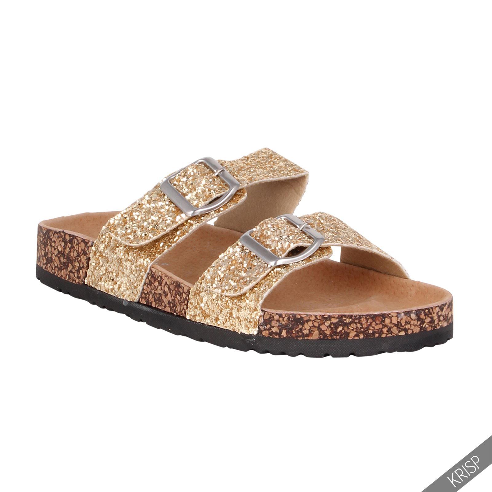 femme sandales plates glitter paillettes mules li ge semelle cuir nouveau ebay. Black Bedroom Furniture Sets. Home Design Ideas
