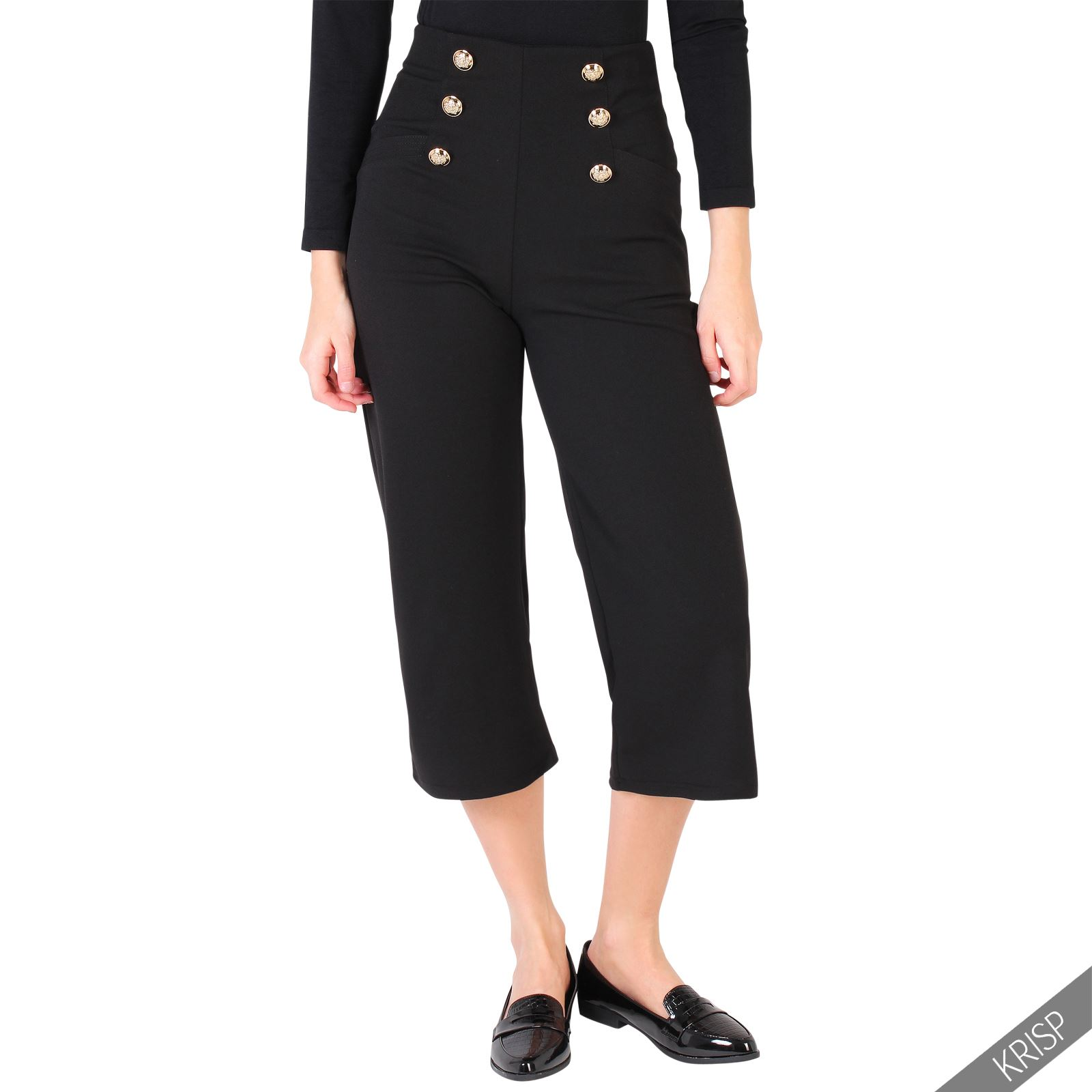 damen high waist culottes 3 4 hosen marine matrosen hoher. Black Bedroom Furniture Sets. Home Design Ideas