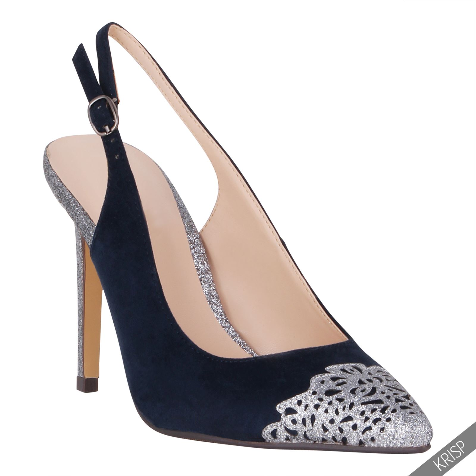 womens formal glitter pointed slingback high heels court