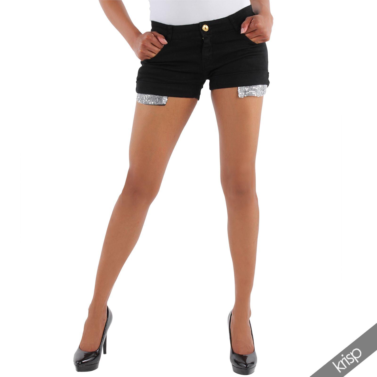 damen shorts kurze hose mit pailletten stretch hot pants pantys farbige jeans ebay. Black Bedroom Furniture Sets. Home Design Ideas