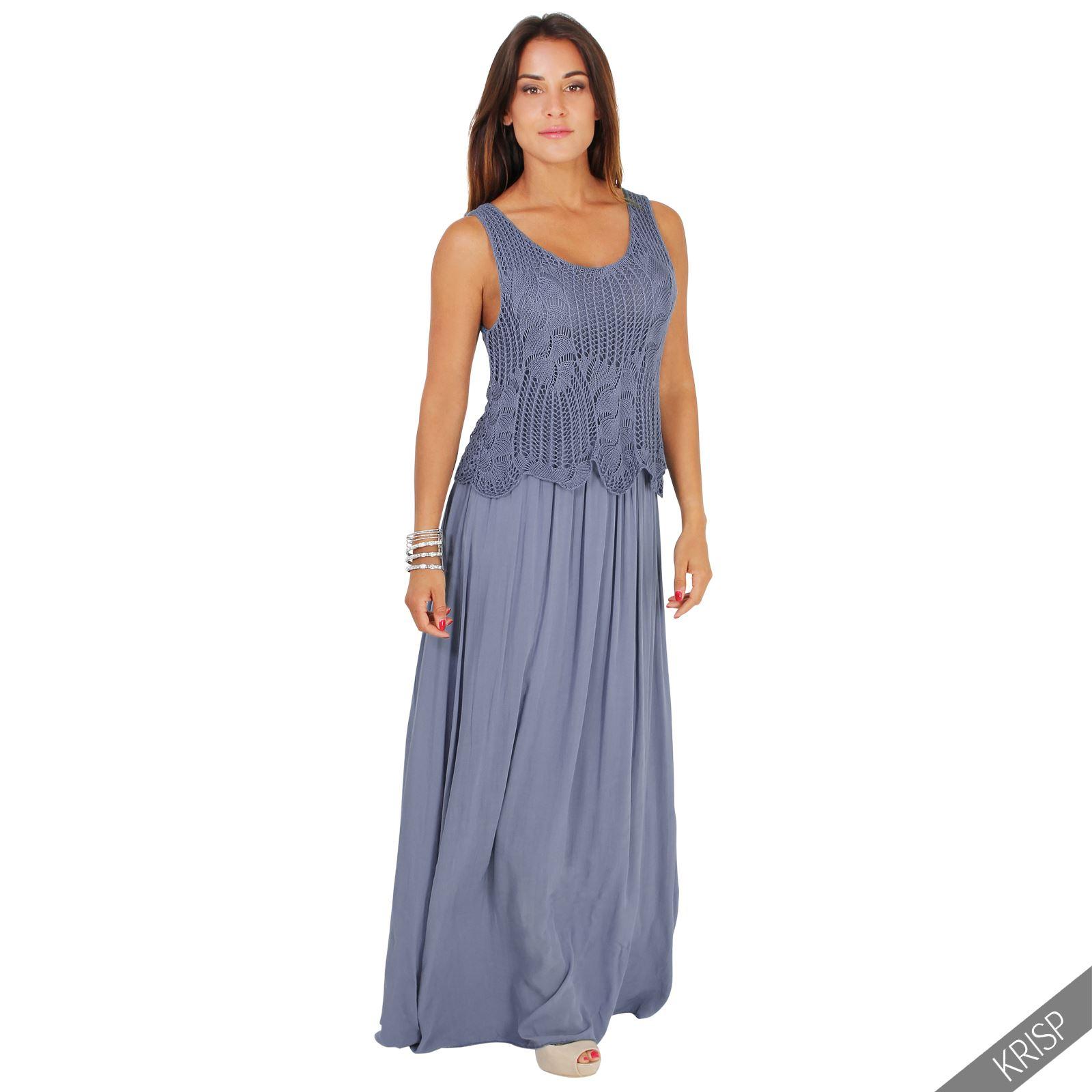 Womens Boho Crochet Top Sleeveless Maxi Dress Long Loose ...