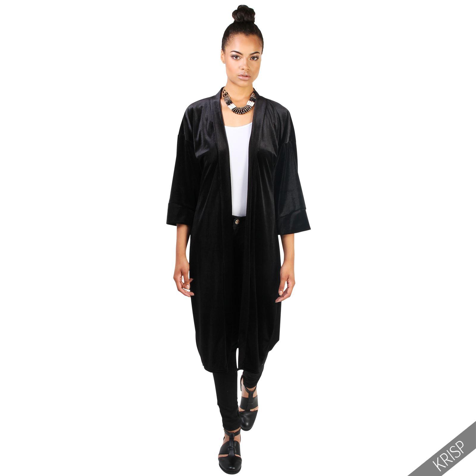 femmes kimono boho veste chic blazer ourlets mousseline de soie ample velours ebay. Black Bedroom Furniture Sets. Home Design Ideas