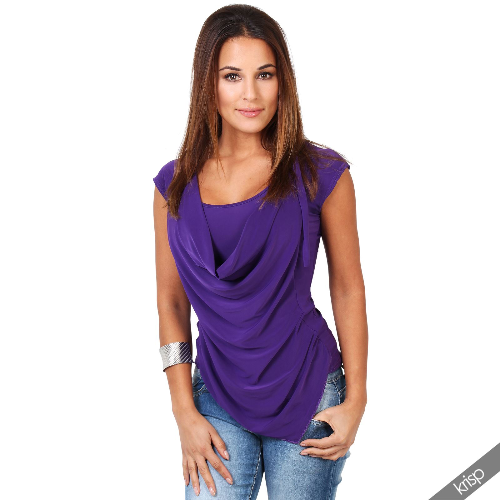 Krisp womens sleeveless cowl neck silk drape low cut back