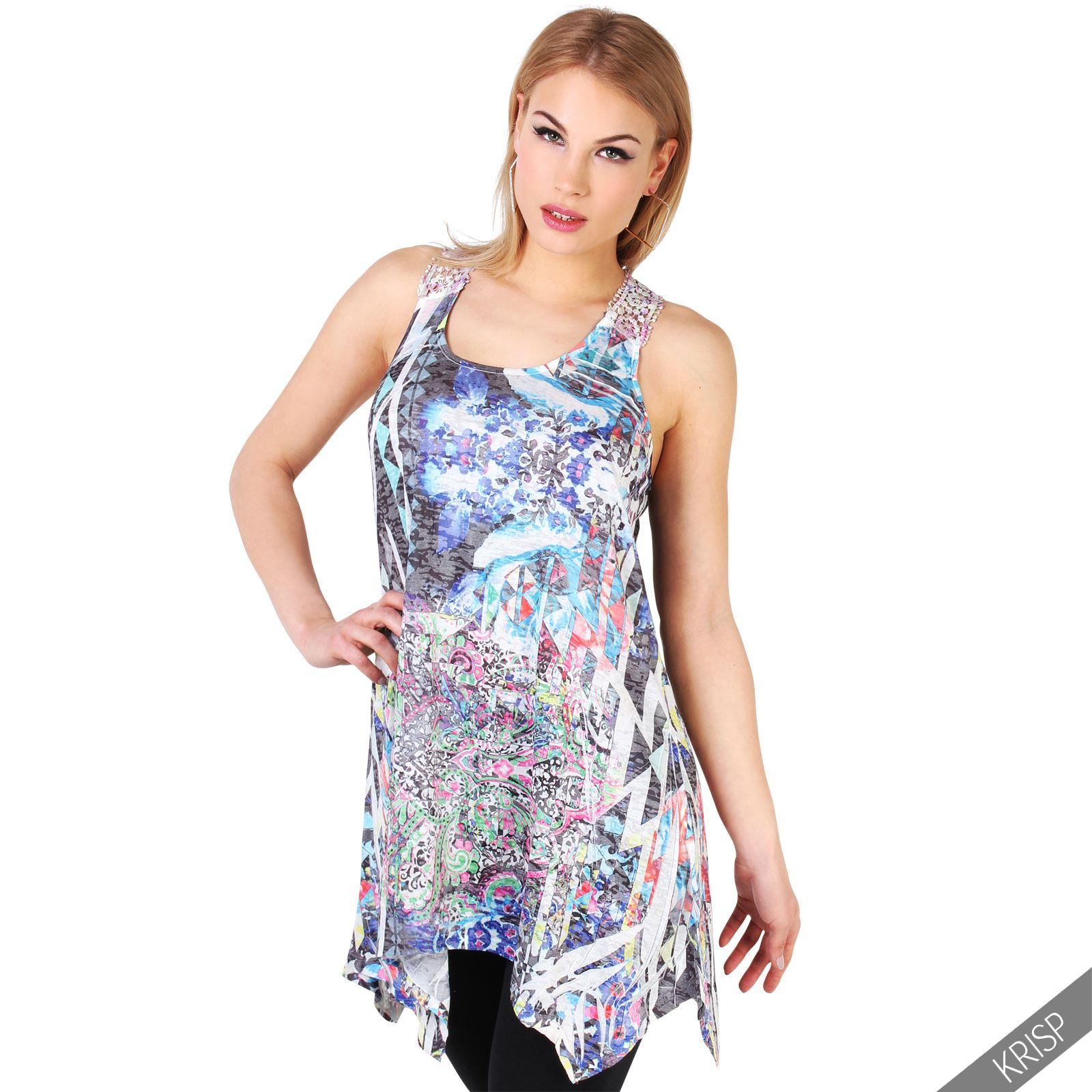 Womens lace back sleeveless aztec vest top tunic long t for Sleeveless dress shirt womens