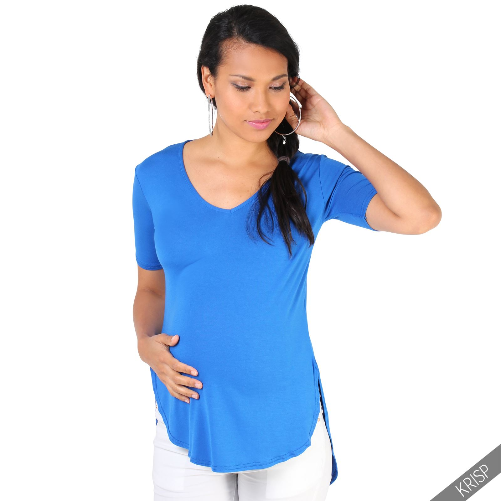 Maternity womens short sleeve loose t shirt tee dip hem for Women s broadcloth shirts