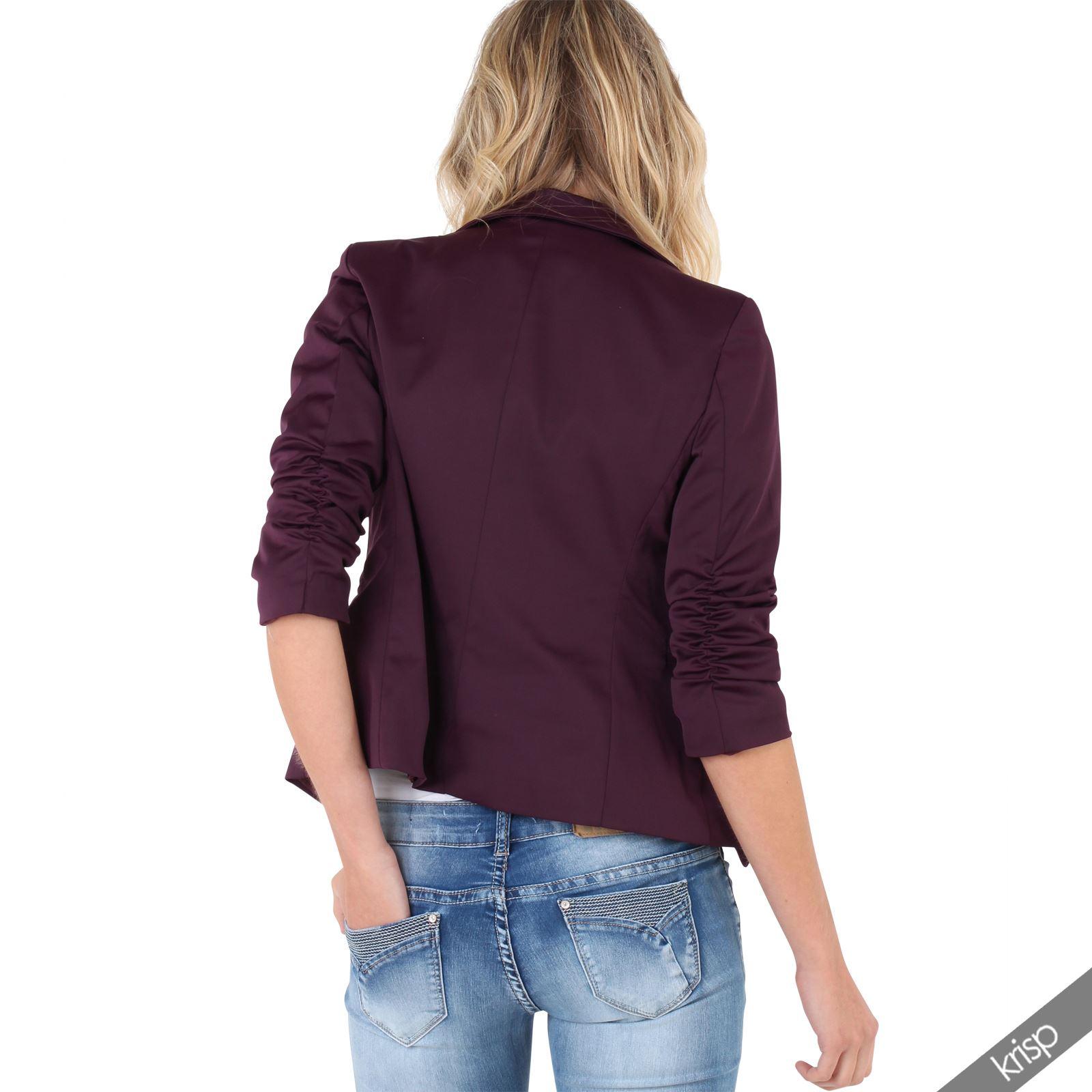 damen satin blazer taillierte jacke 3 4 rmel kurze sommerjacke sakko jackett ebay. Black Bedroom Furniture Sets. Home Design Ideas
