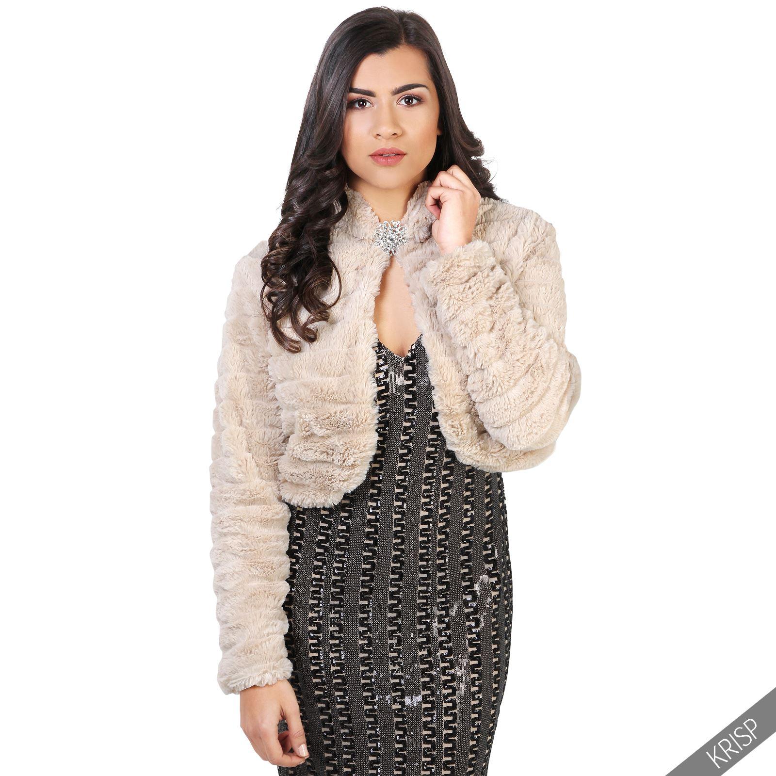 femmes manteau veste fausse fourrure bol ro chaud hiver f te de no l gilet court. Black Bedroom Furniture Sets. Home Design Ideas