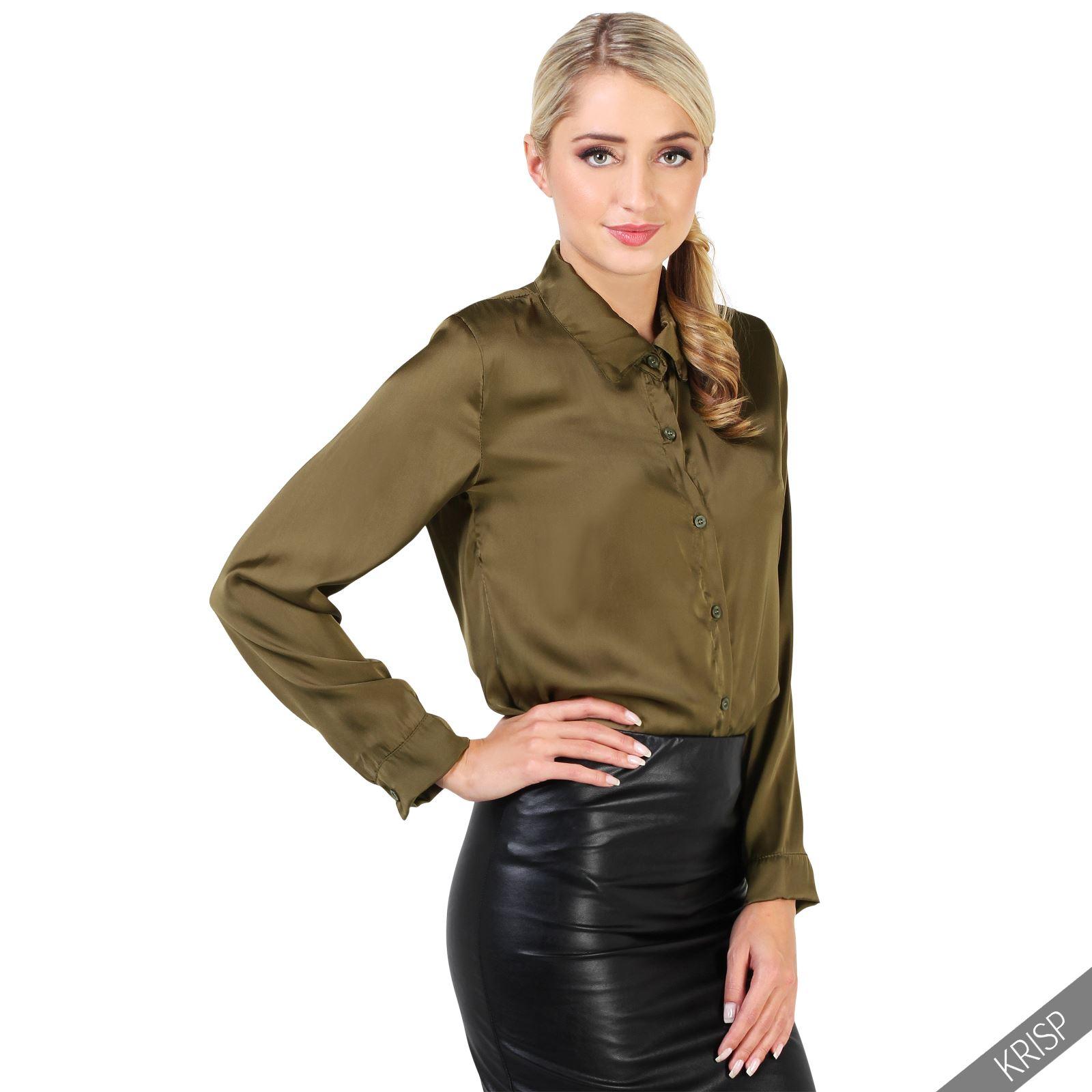 femmes chemise chemisier blouse haut satin manches longues mousseline tunique ebay. Black Bedroom Furniture Sets. Home Design Ideas