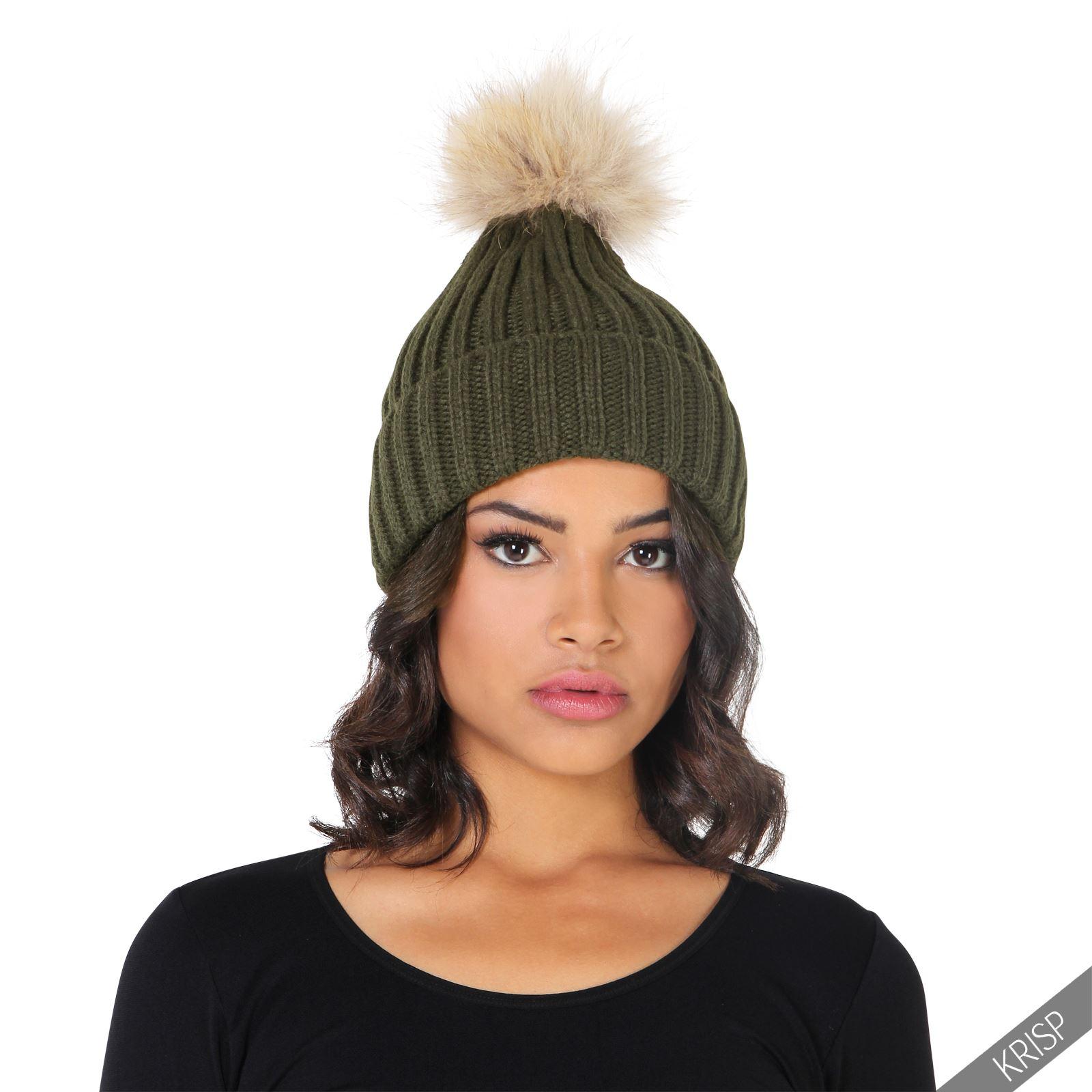 Womens Fur Pom Pom Ball Warm Knit Baggy Bobble Hat Beanie ...