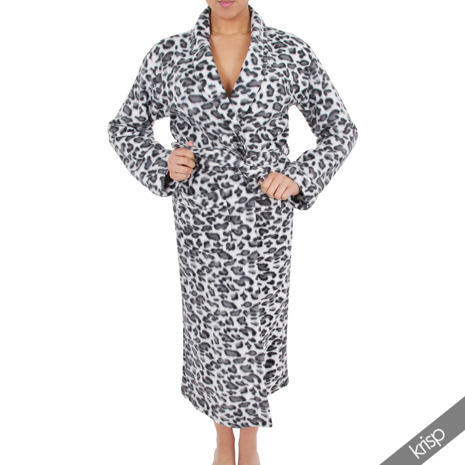 womens soft fleece leopard print robe dressing gown. Black Bedroom Furniture Sets. Home Design Ideas