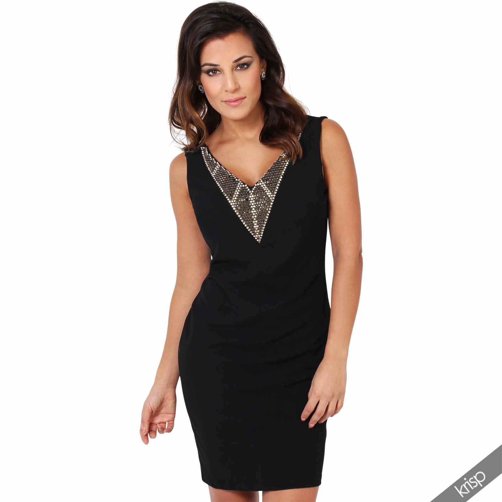 womens low cut jewelled plunging v neck open back bodycon