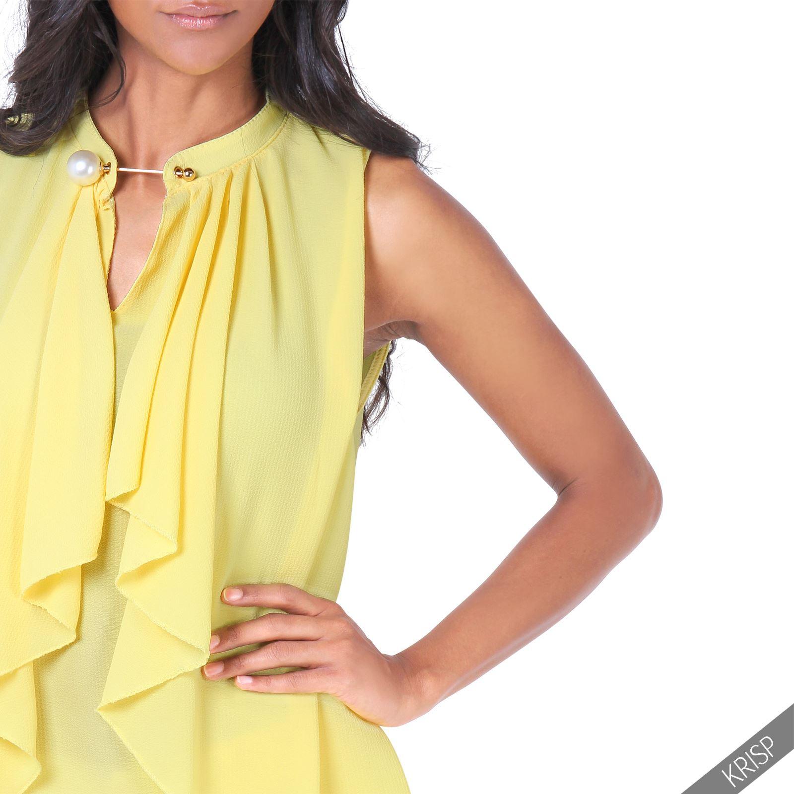 Women'S Sleeveless Ruffle Blouse 121