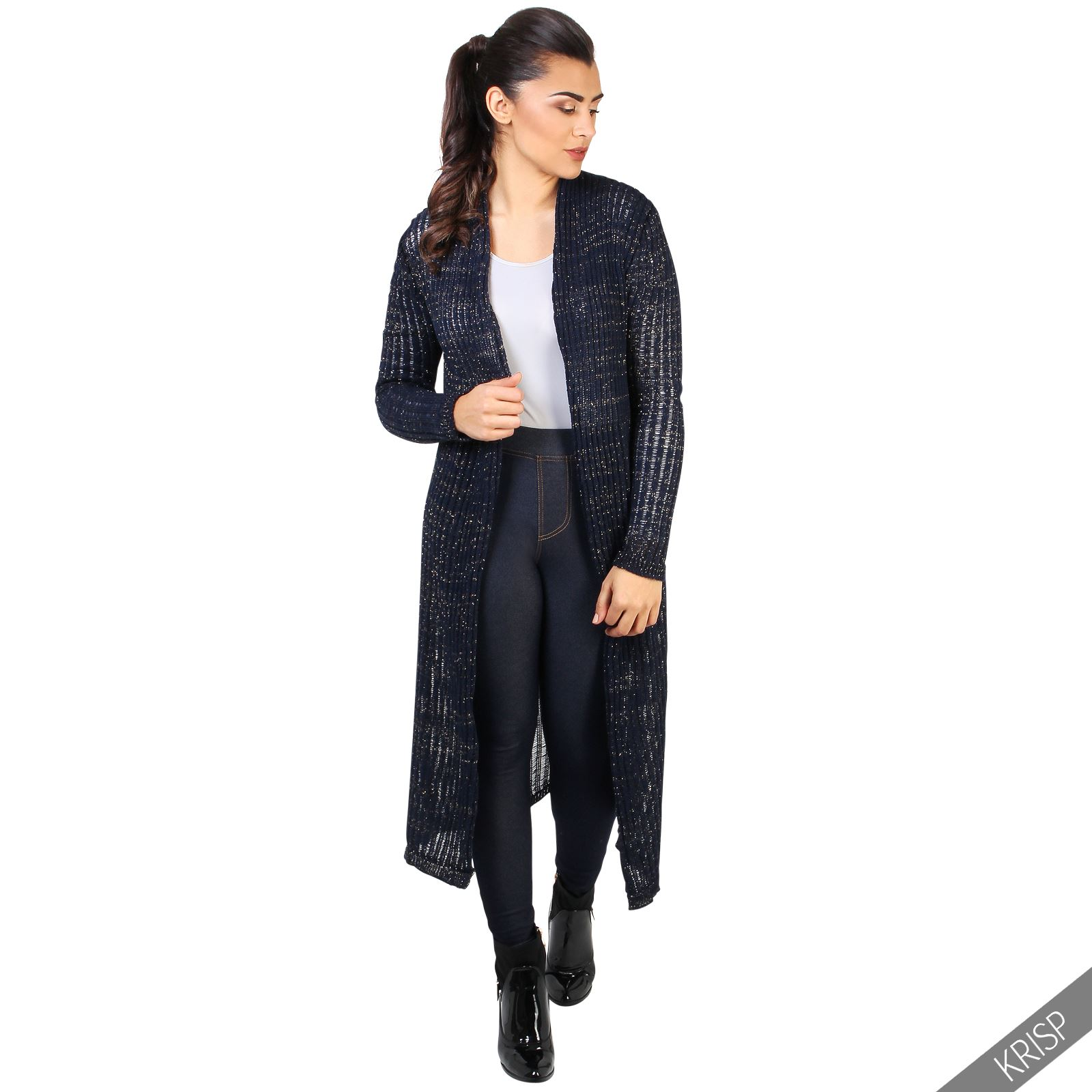 femmes cardigan gilet long tricot moyen paillette veste. Black Bedroom Furniture Sets. Home Design Ideas