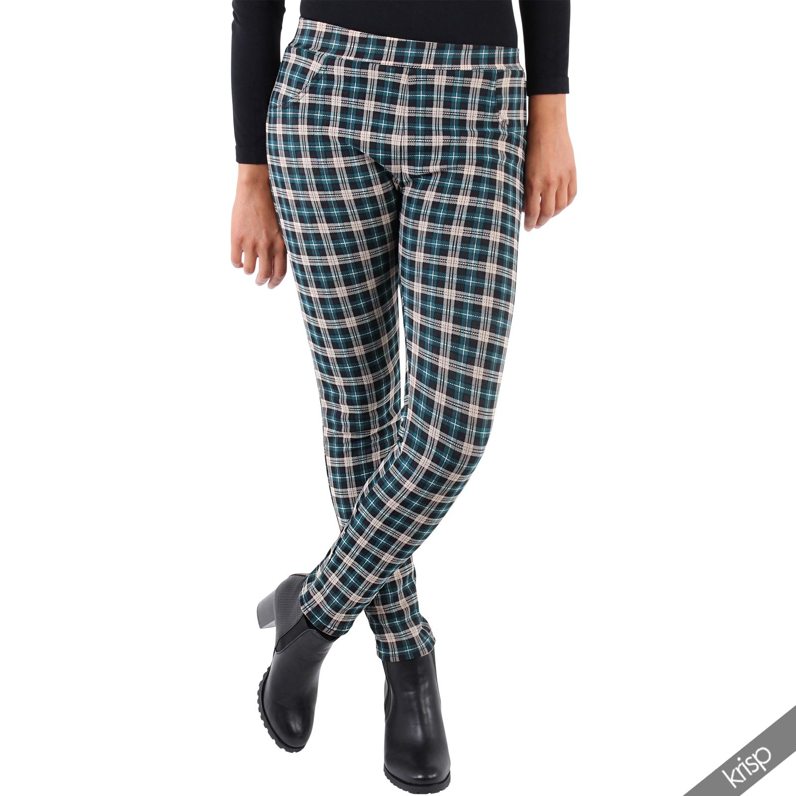 femmes pantalon fuseau leggings tartan carreaux doubl fourrure thermique ebay. Black Bedroom Furniture Sets. Home Design Ideas