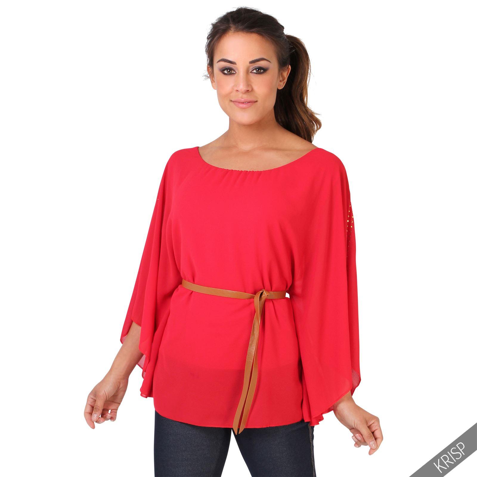 Brilliant Keira Kimono Sleeve Top Red Womens Plus Size