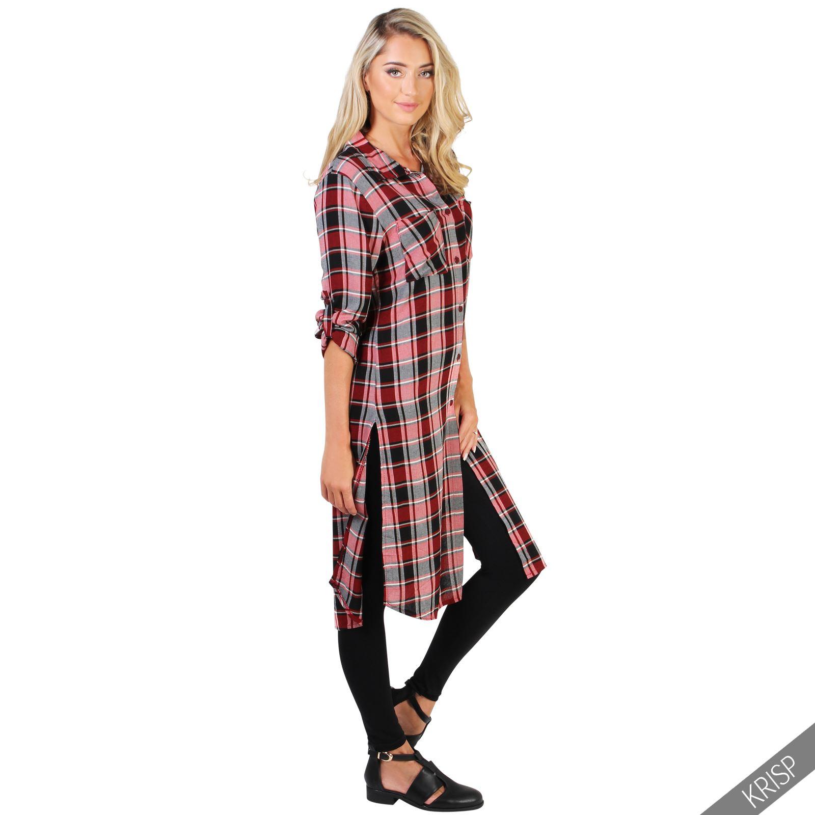 Womens ladies check plaid tartan long button up shirt for Oversized plaid shirt womens