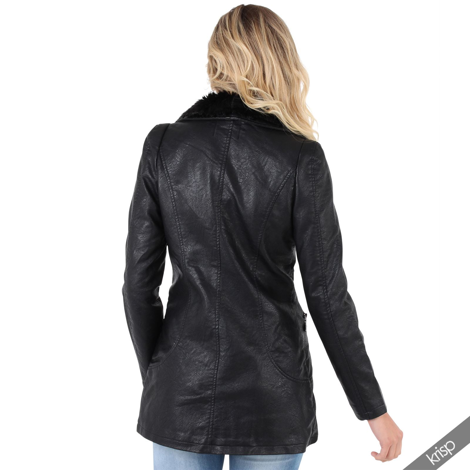 damen fellkragen lederjacke biker jacke parka bergangsjacke kurzer mantel neu ebay. Black Bedroom Furniture Sets. Home Design Ideas